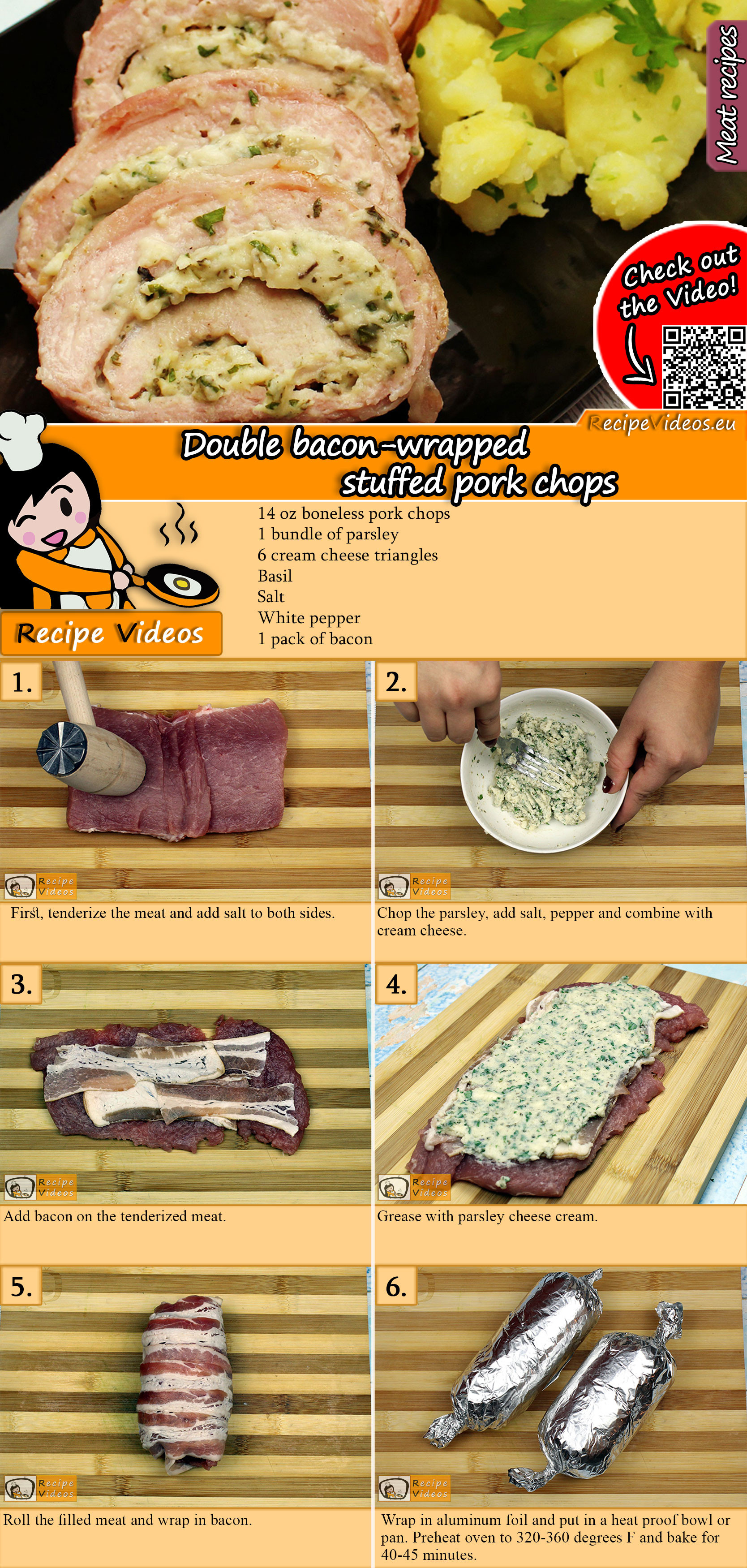 Double bacon-wrapped stuffed pork chops recipe with video