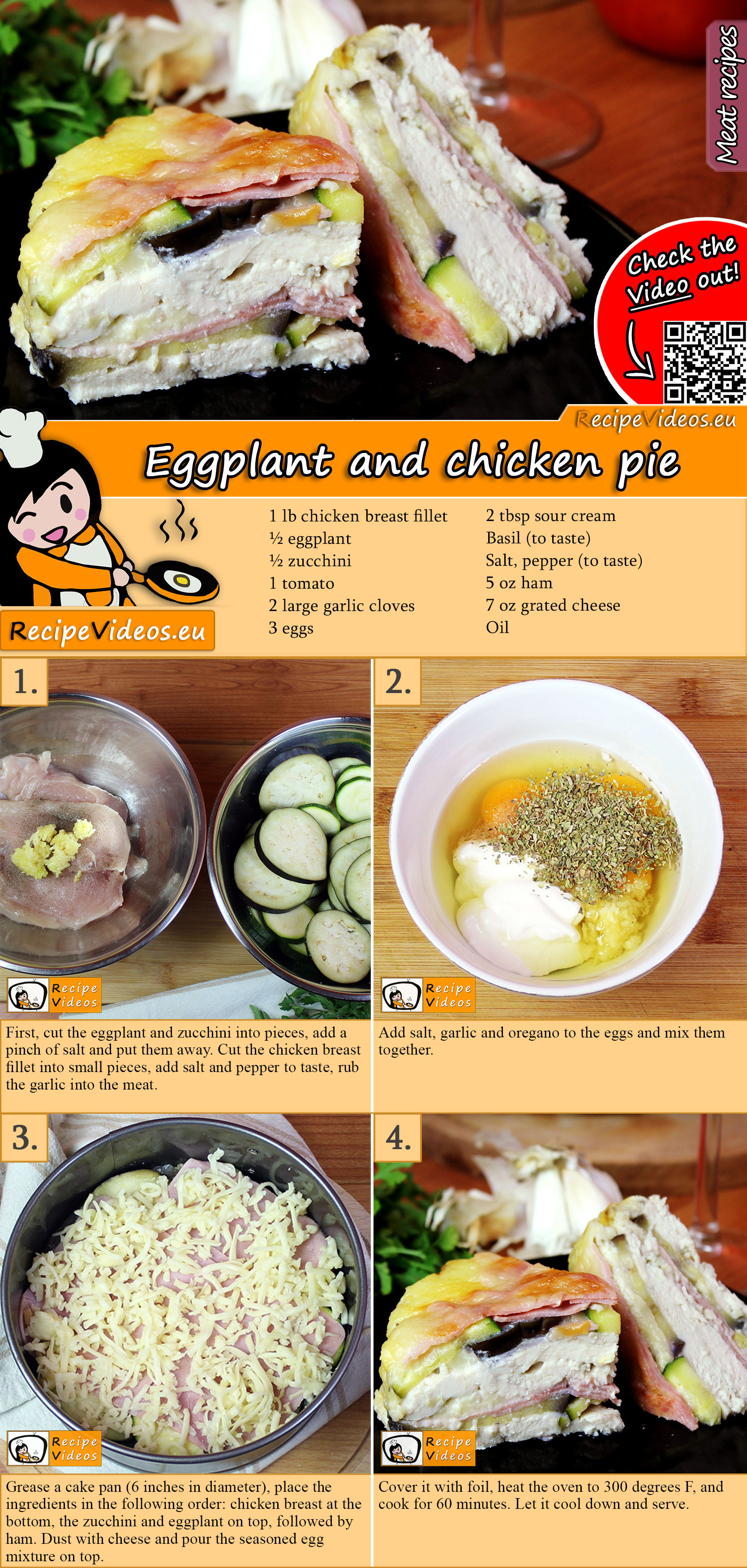 Eggplant and chicken pie recipe with video