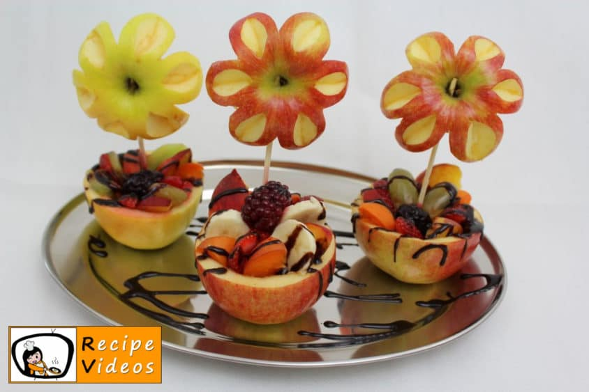 Fruit cup with apple flowers recipe, prepping Fruit cup with apple flowers step 5