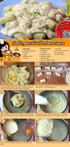 Garlic gnocchi with cheese sauce recipe with video