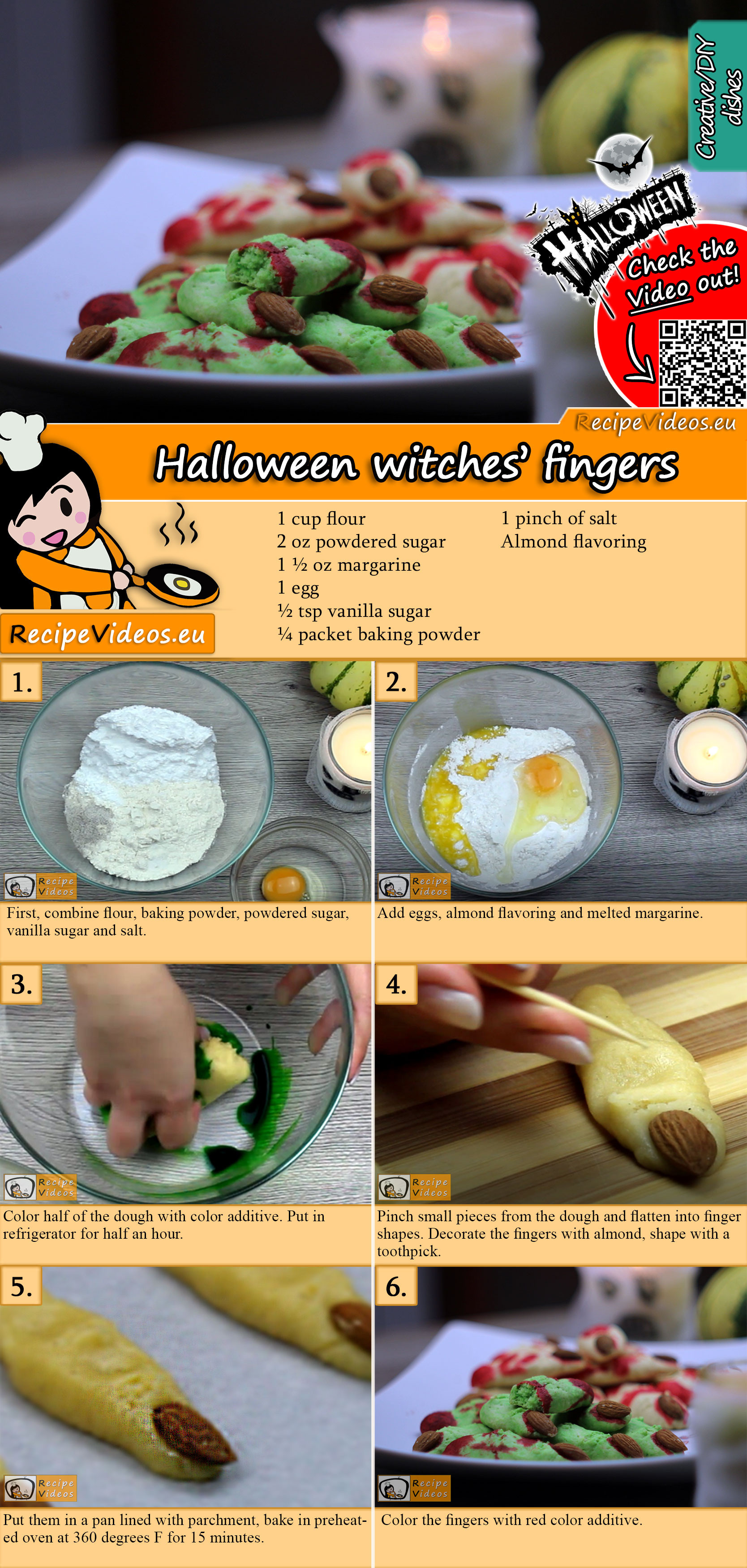 Halloween witches' fingers recipe with video
