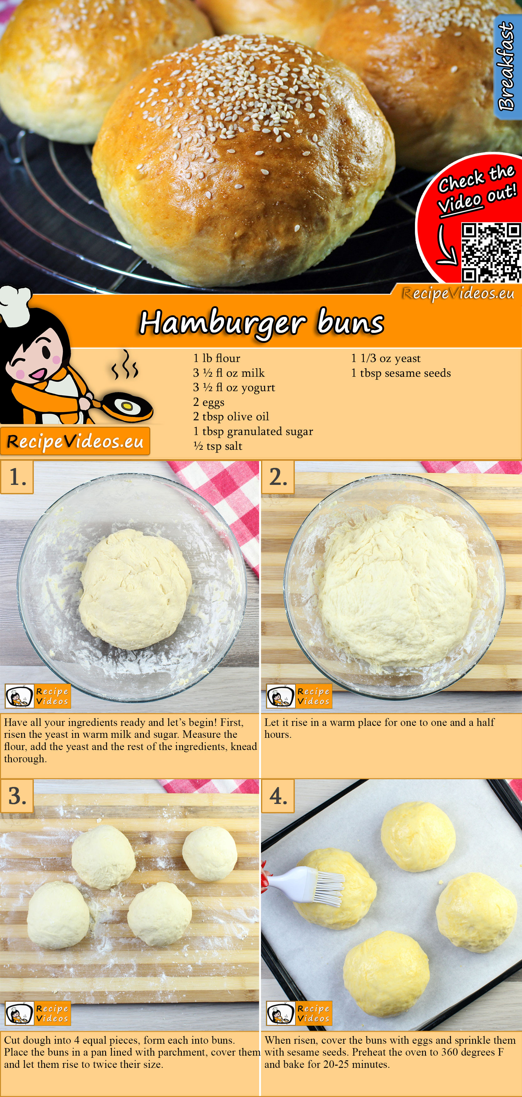 Hamburger buns recipe with video