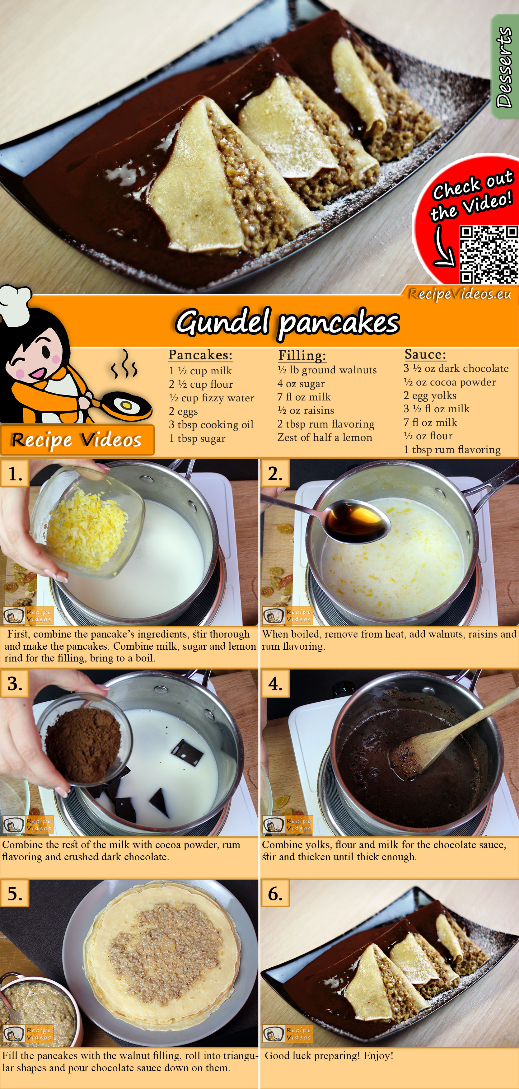 Homemade Gundel pancakes recipe with video