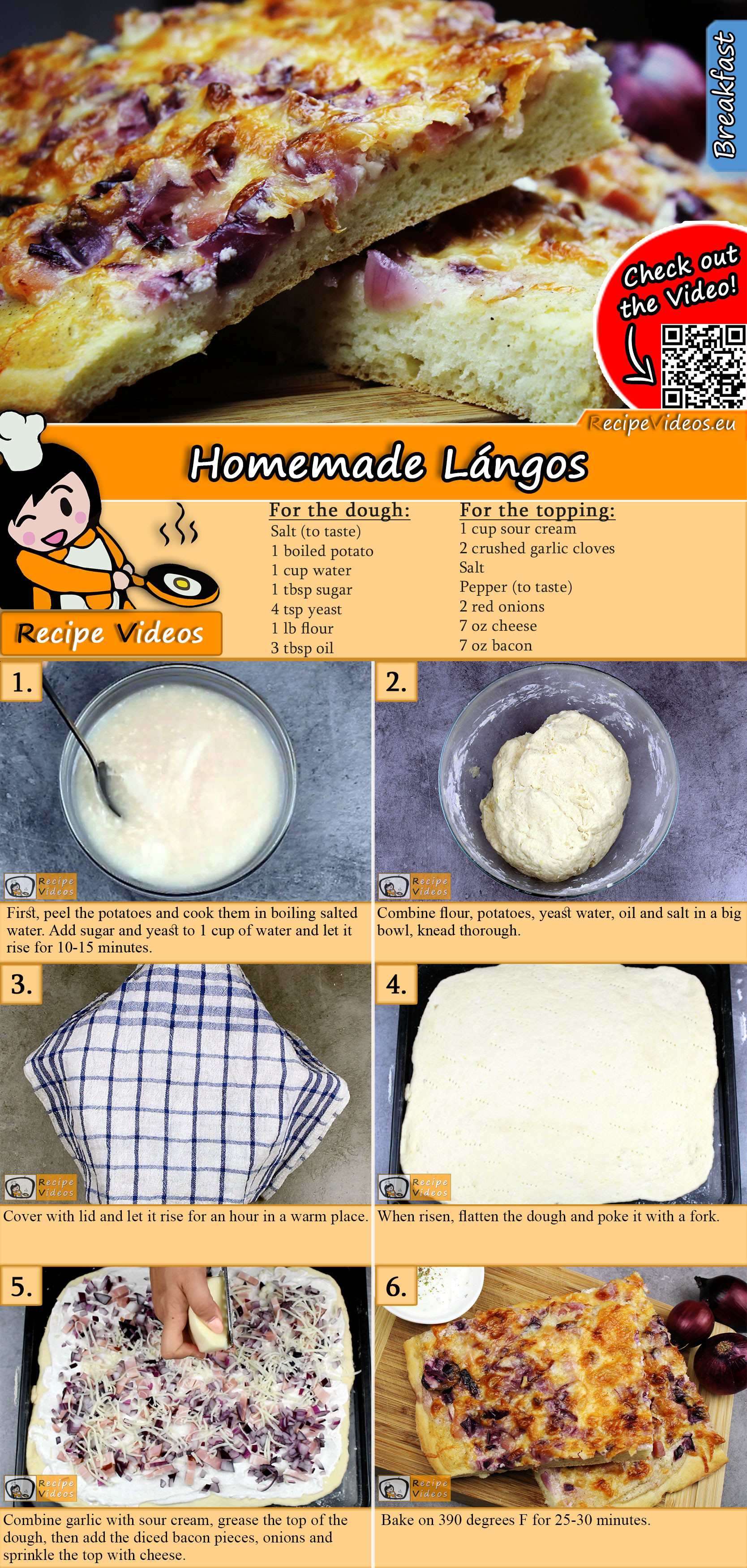 Homemade Lángos recipe with video
