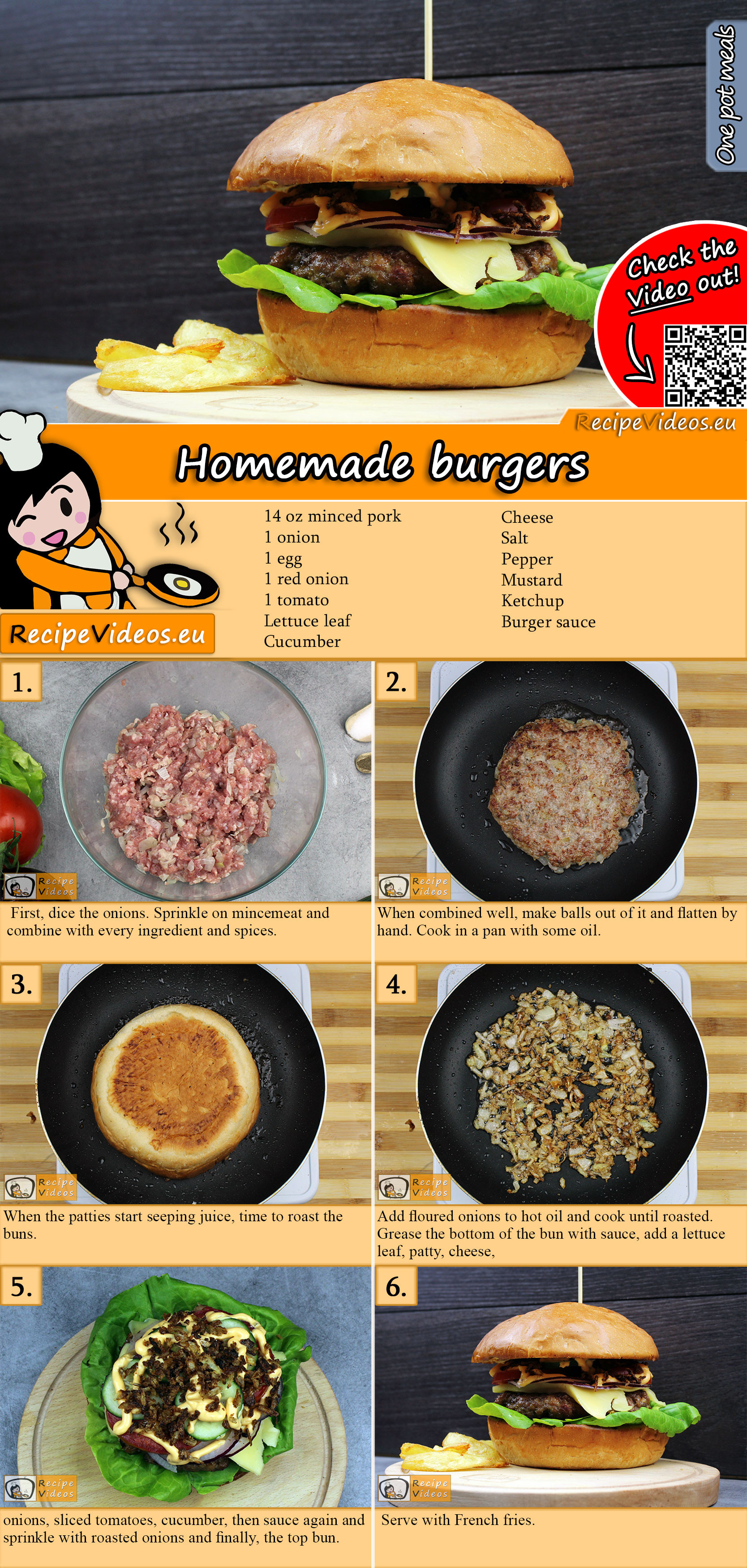 Homemade burgers recipe with video