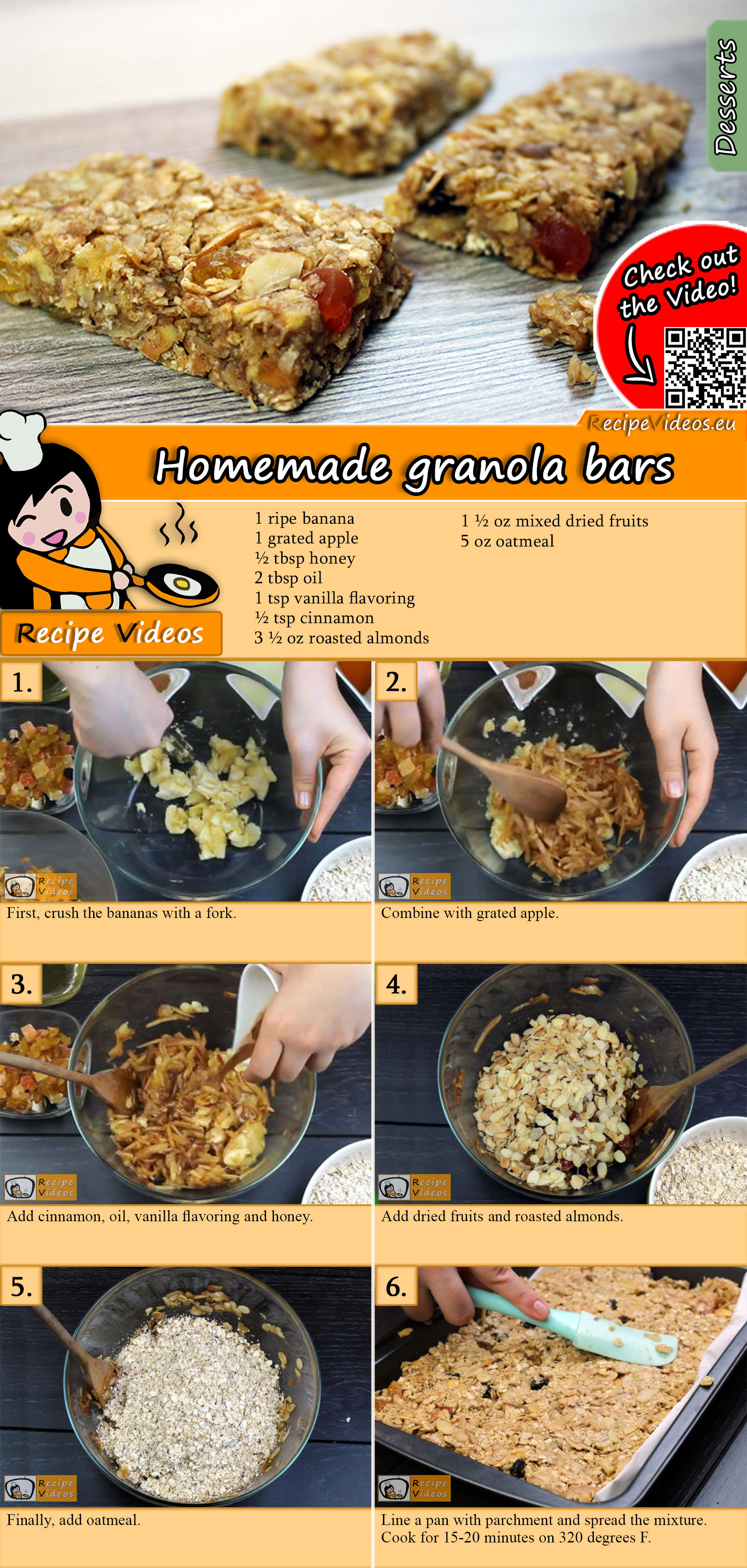 Homemade granola bars recipe with video