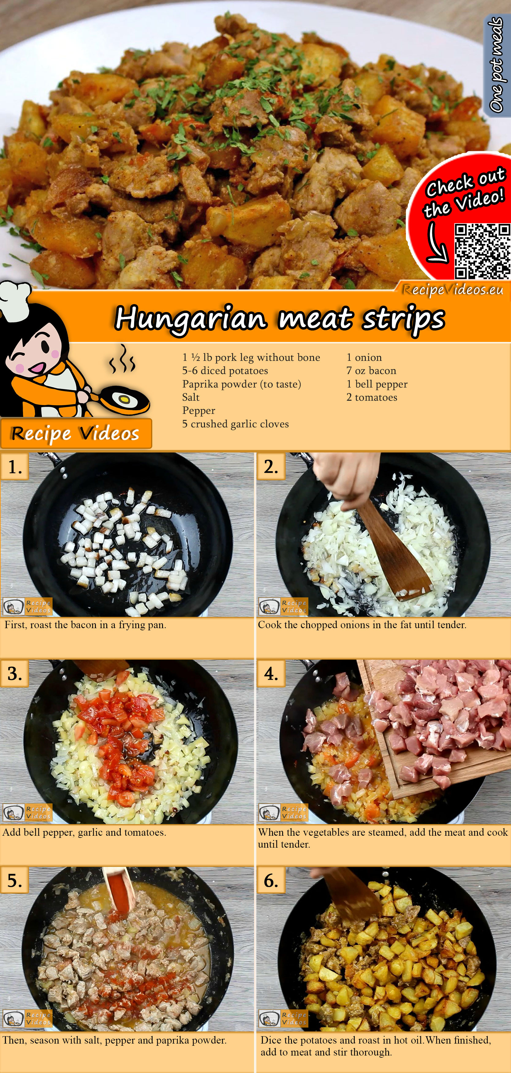 Hungarian meat strips recipe with video