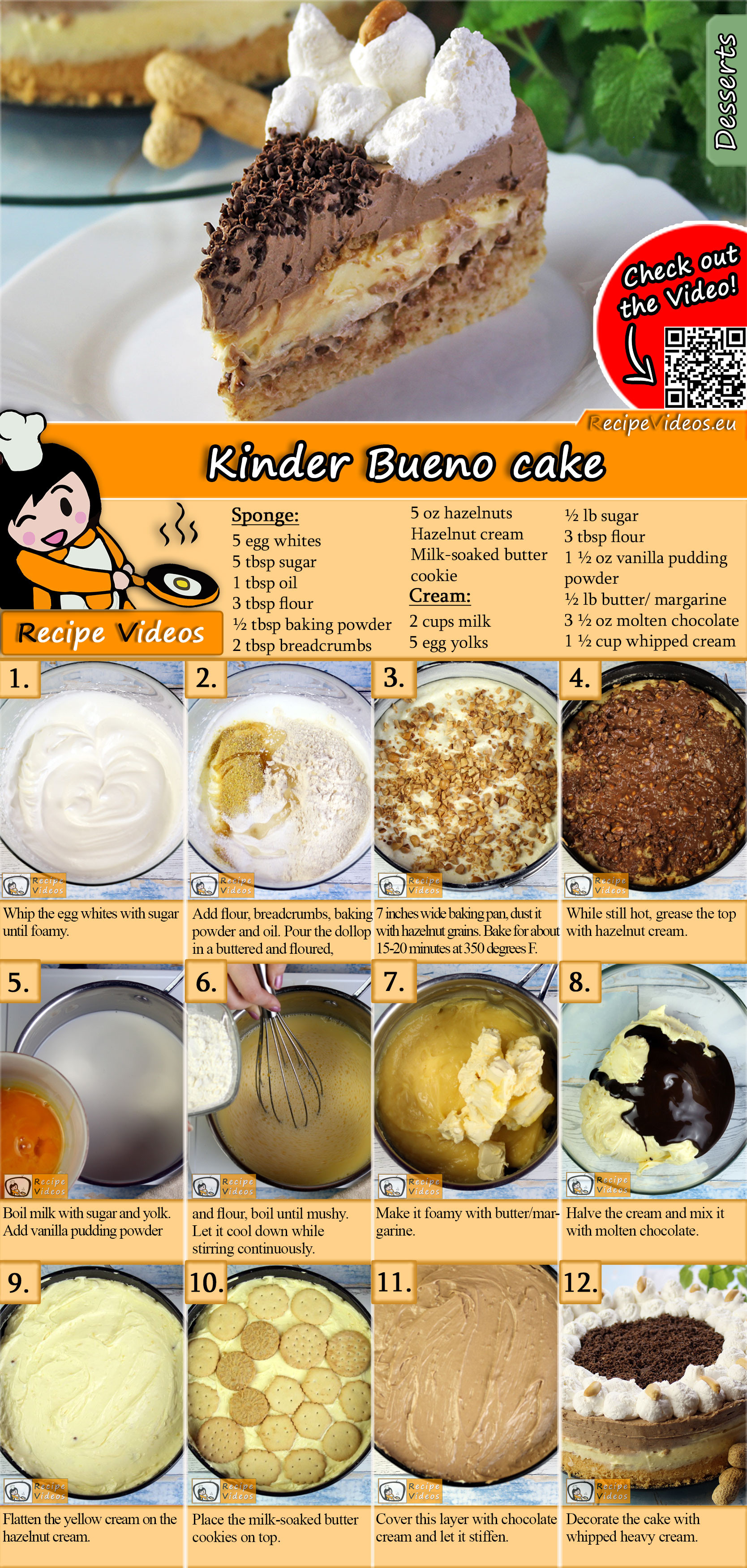 Kinder Bueno cake recipe with video