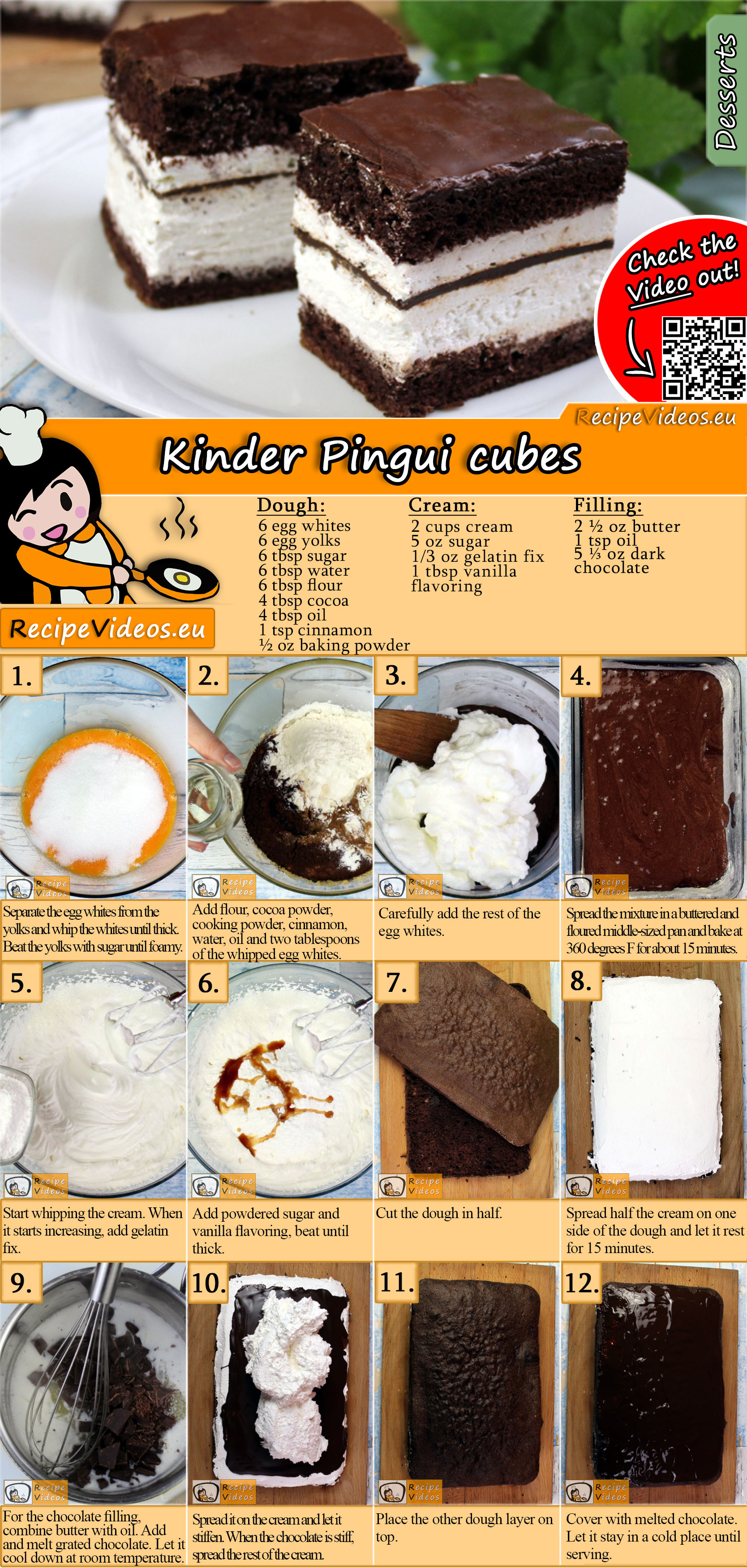 Kinder Pingui cubes recipe with video