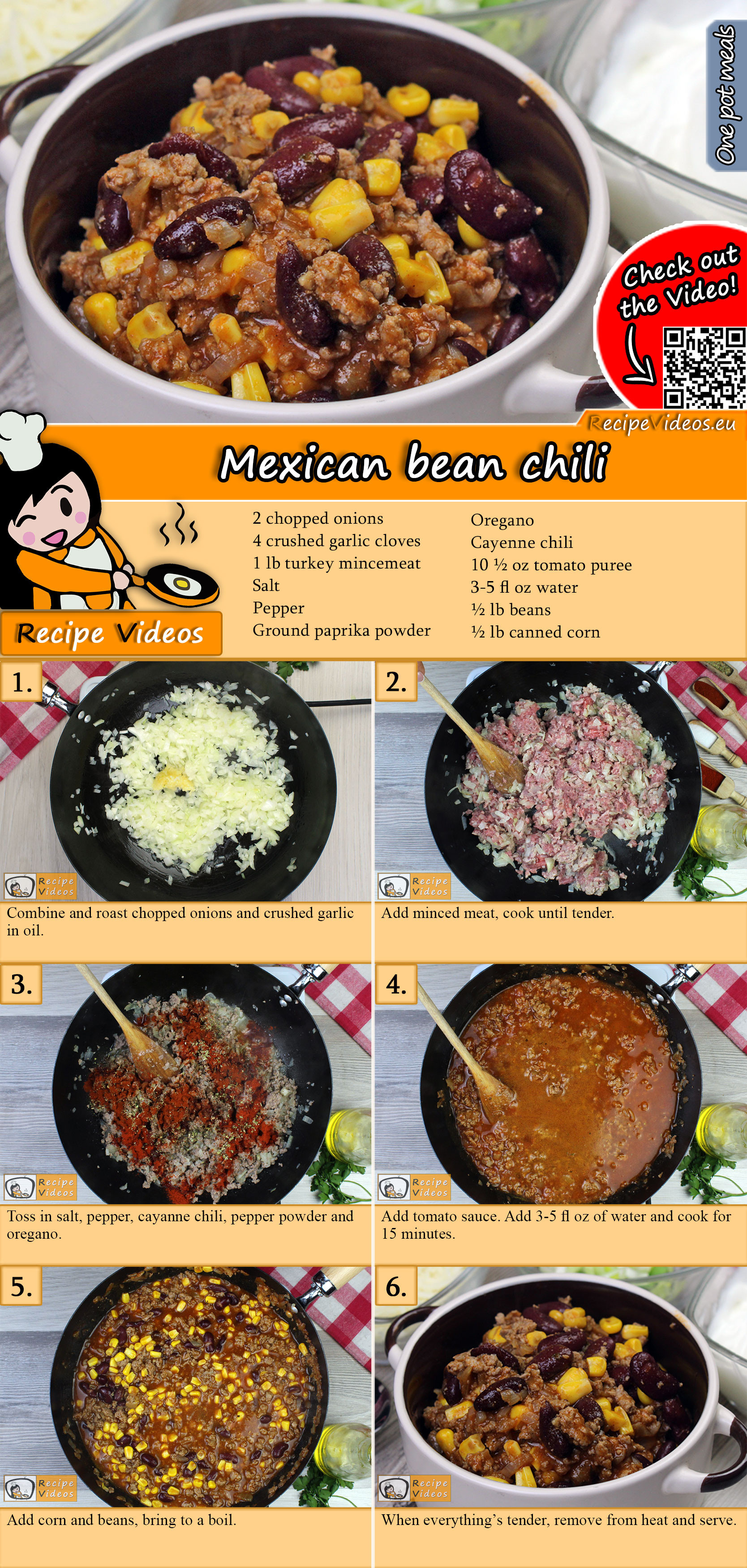 Mexican bean chili recipe with video
