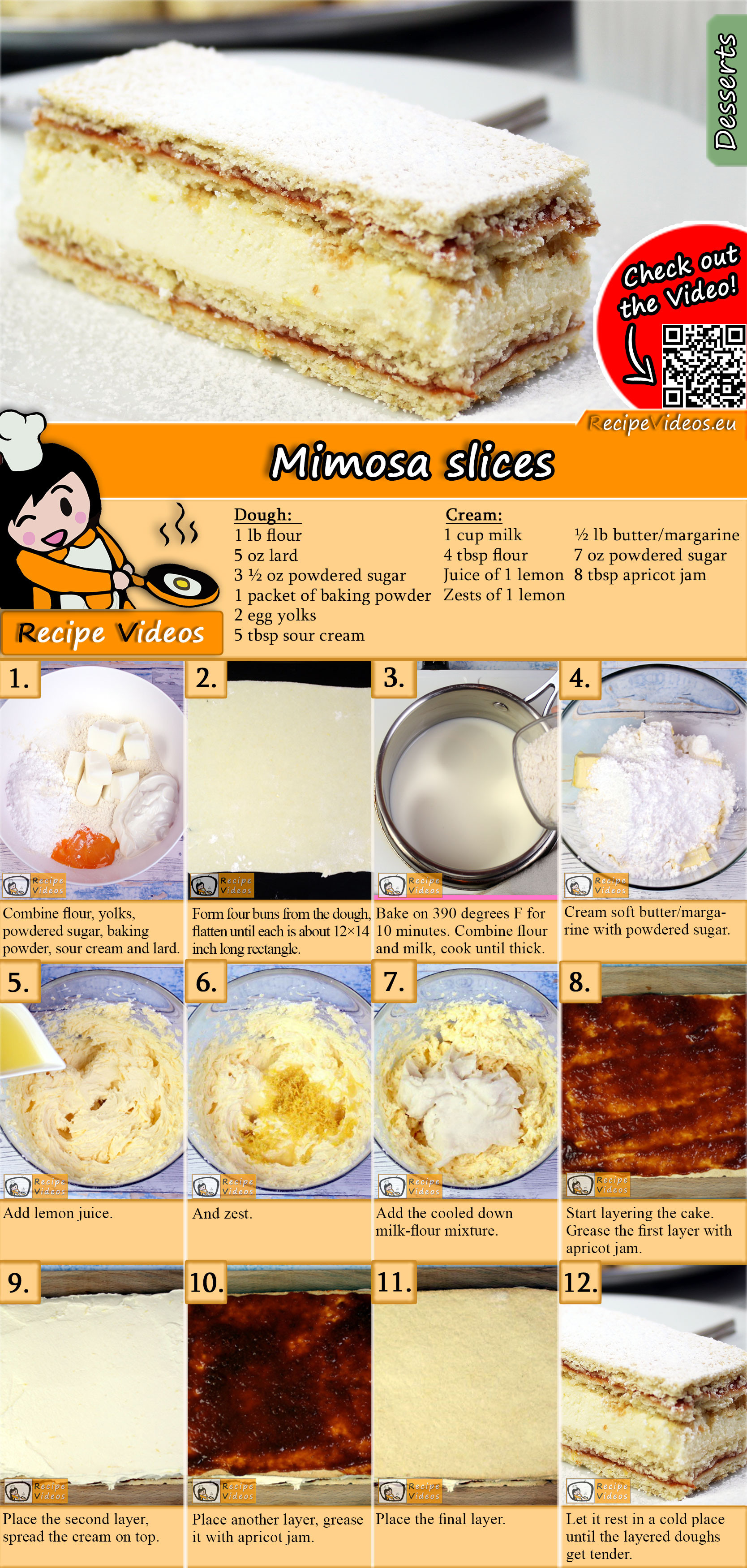 Mimosa slices recipe with video