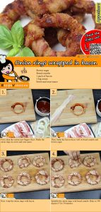 Onion rings wrapped in bacon recipe with video