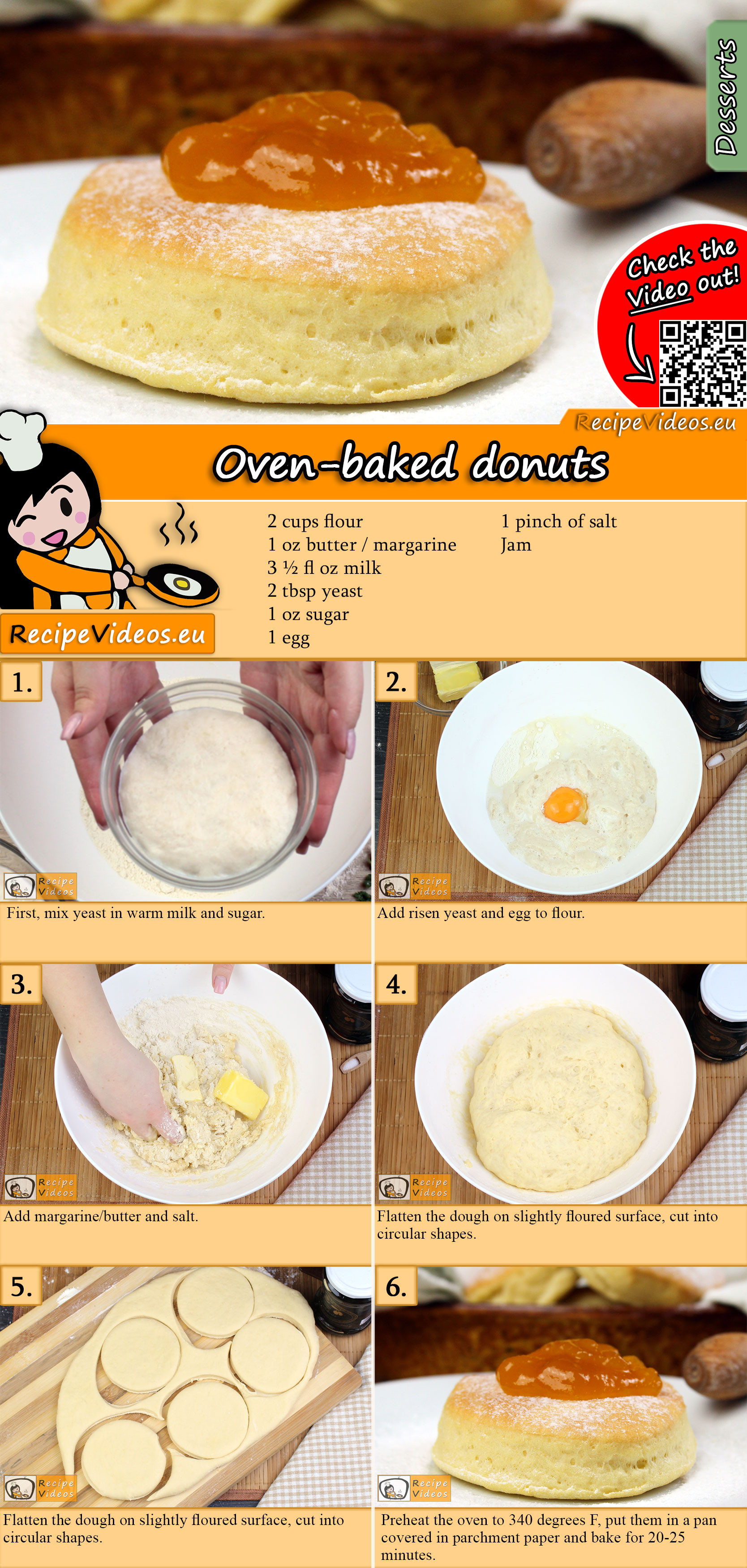 Oven-baked donuts recipe with video