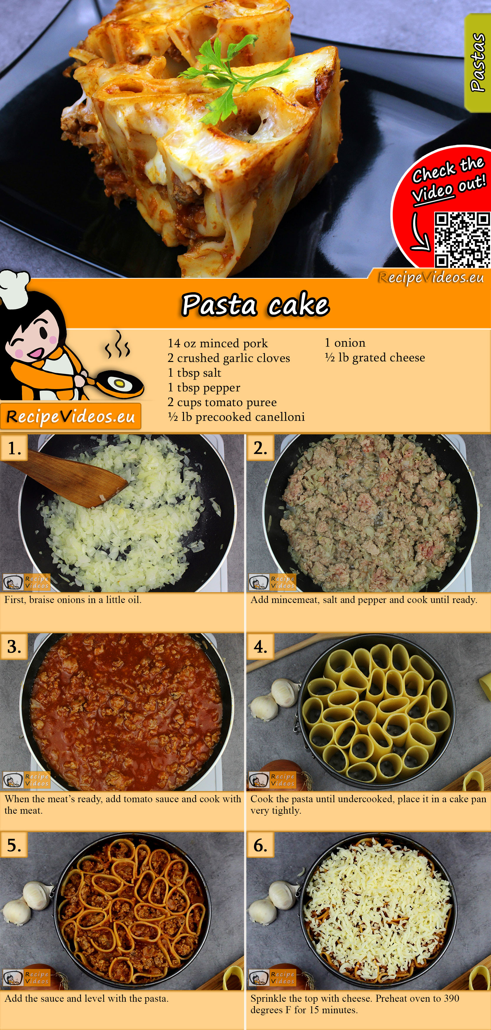 Pasta cake recipe with video