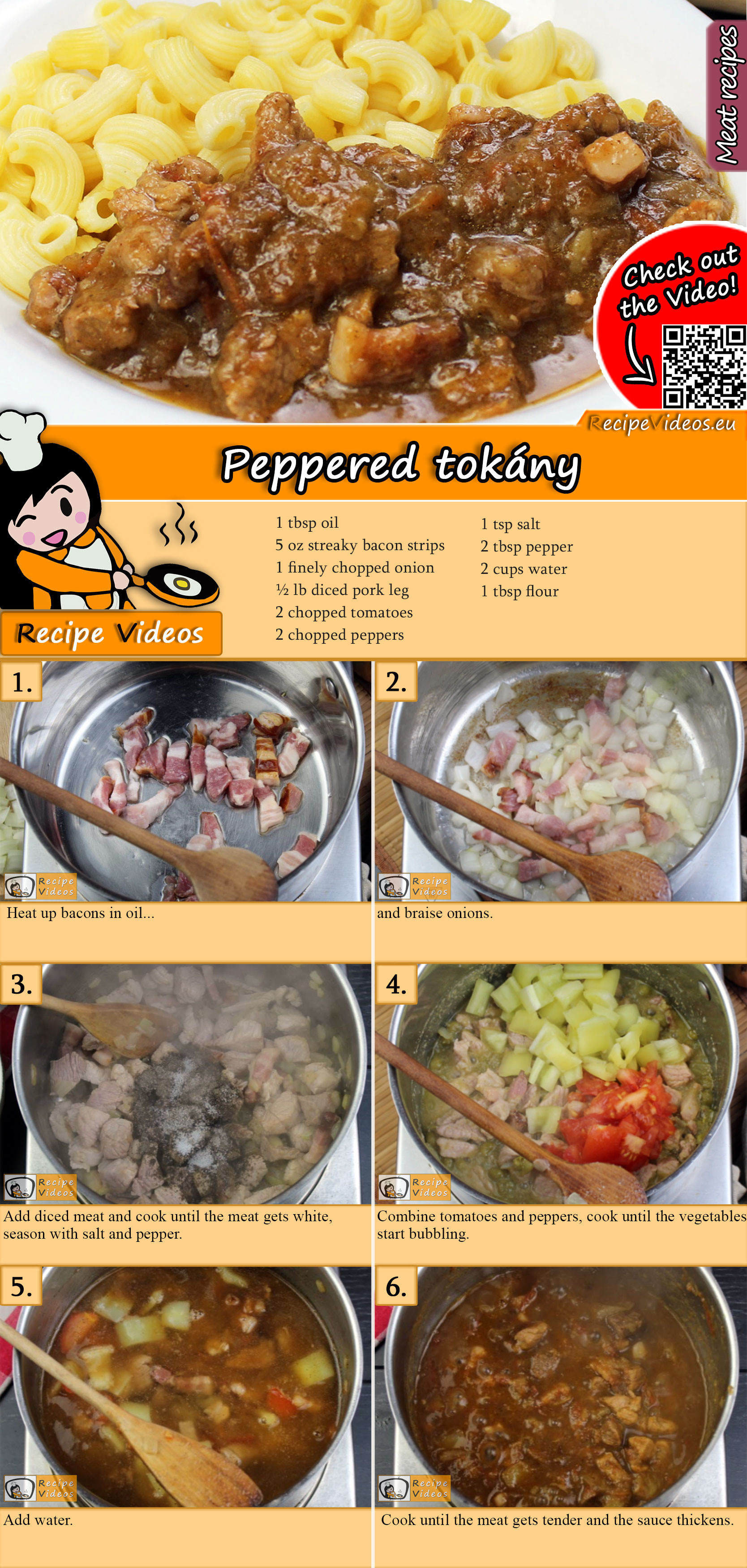 Peppered tokány recipe with video