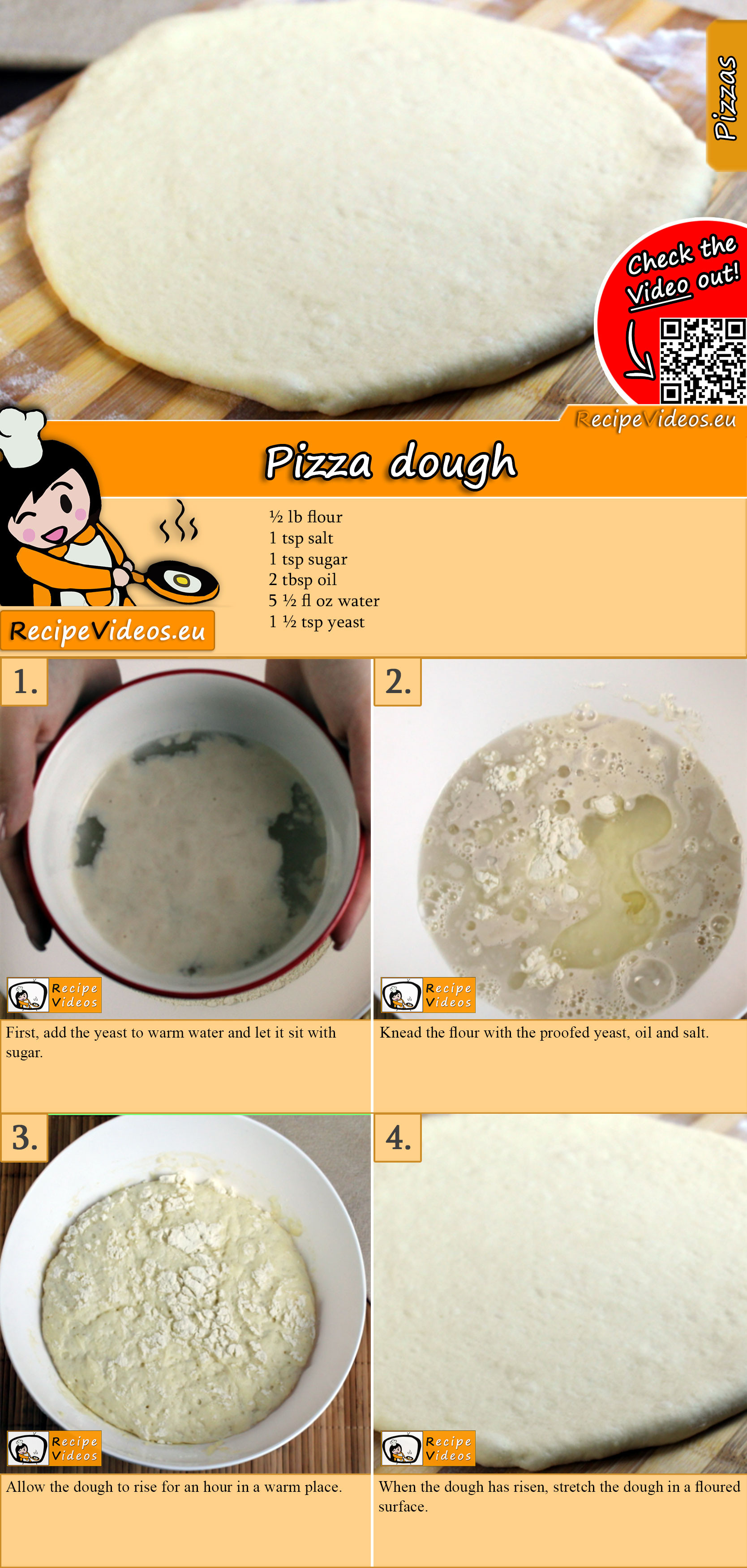 Pizza dough recipe with video