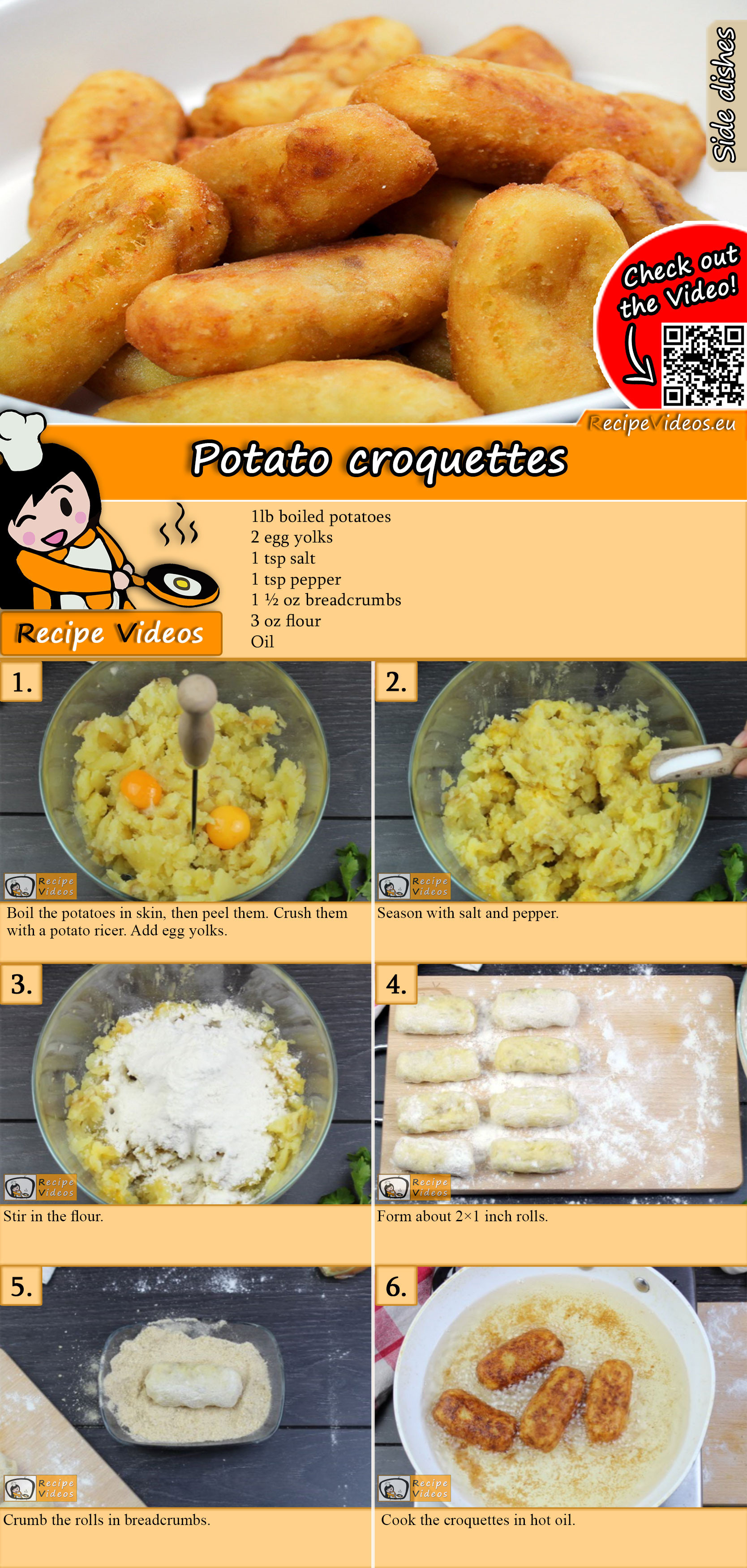 Potato croquettes recipe with video