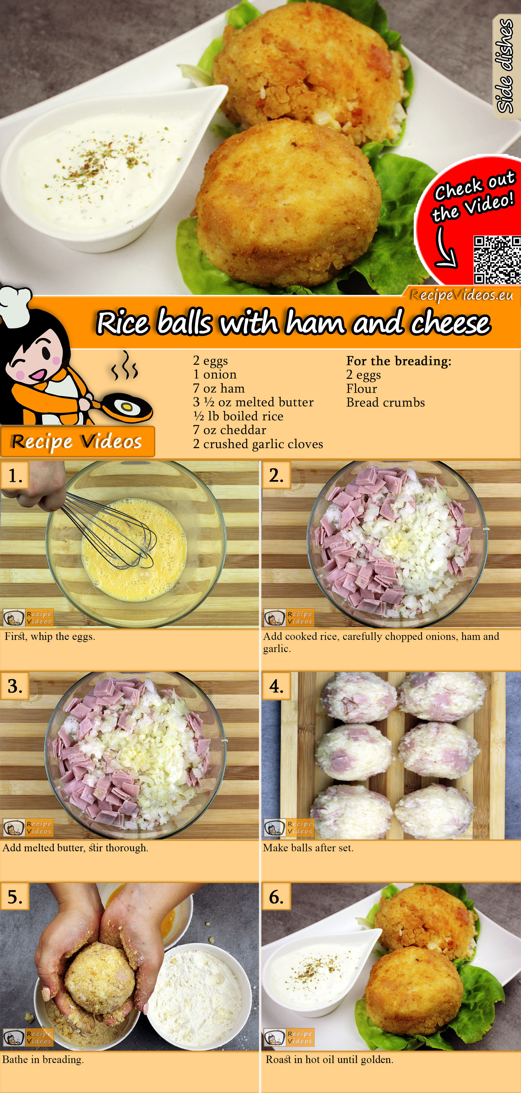 Rice balls with ham and cheese recipe with video