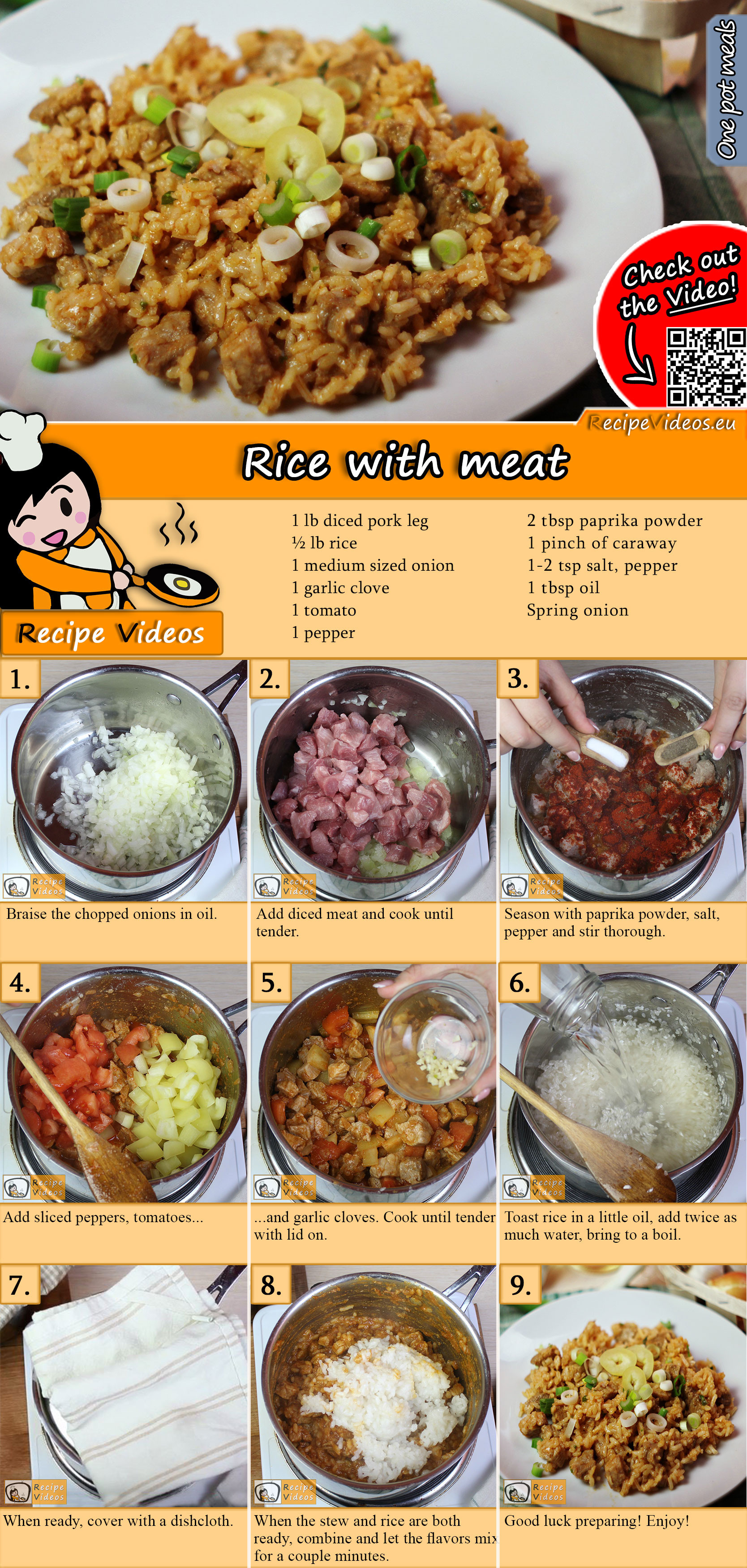 Rice with meat recipe with video