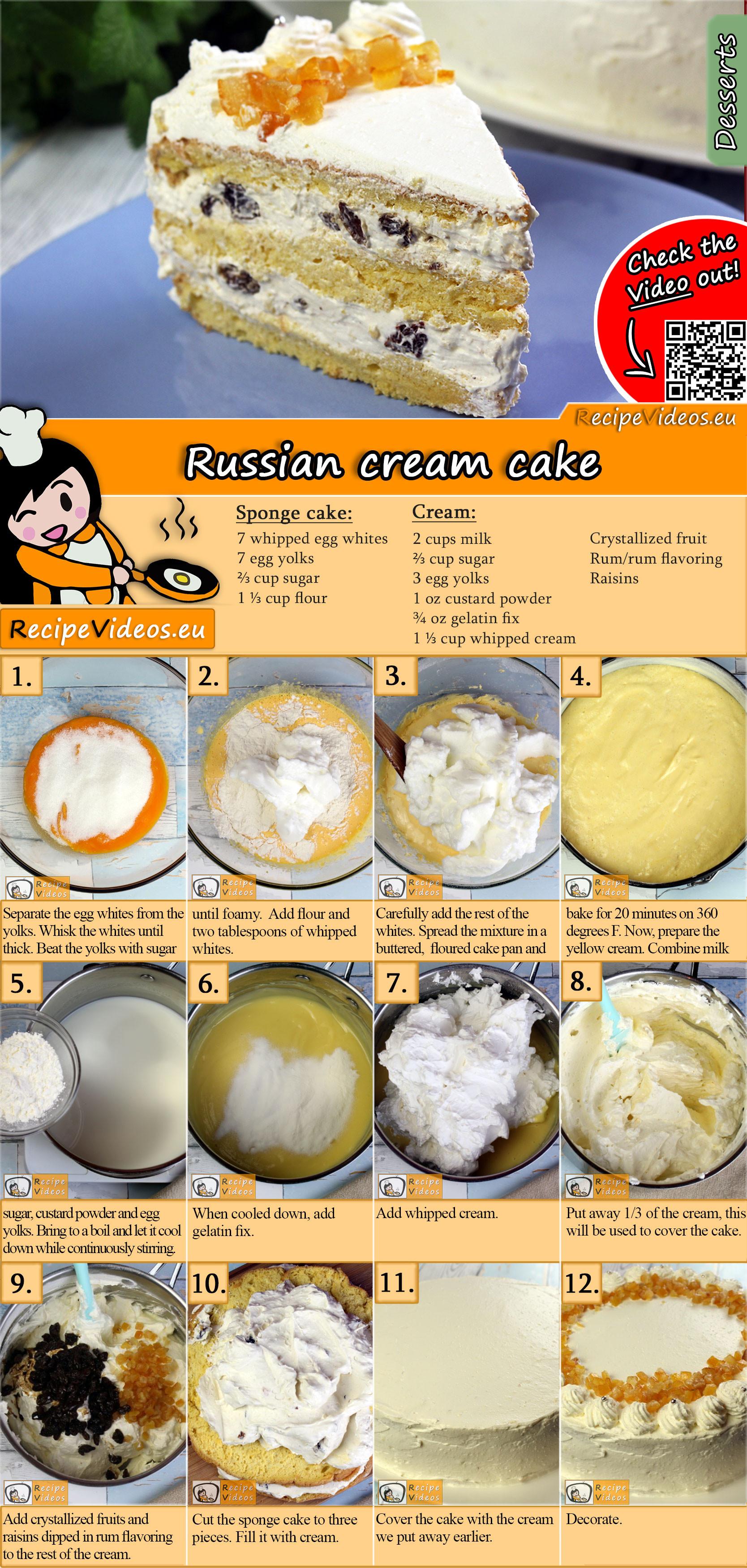 Russian cream cake recipe with video