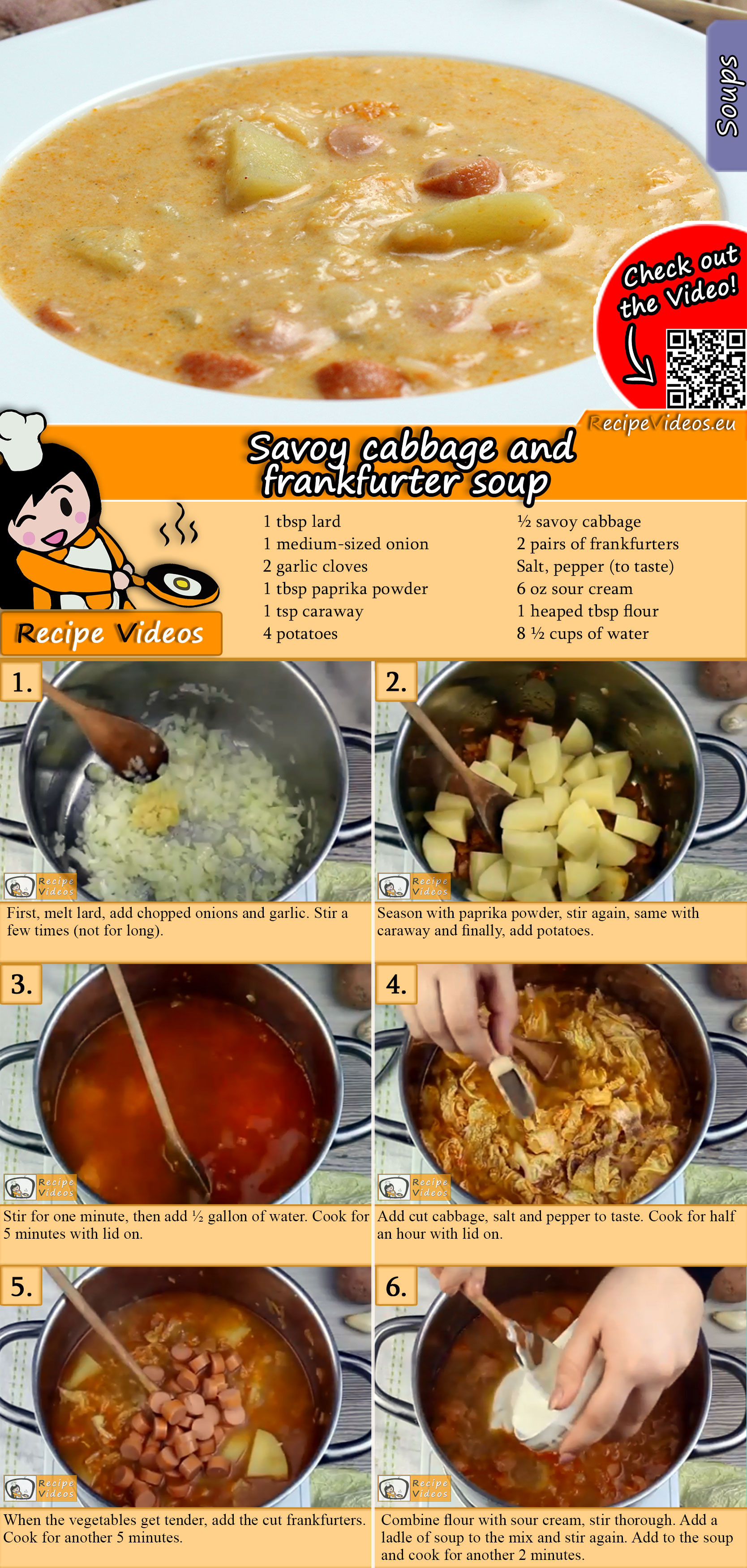 Savoy cabbage and frankfurter soup recipe with video