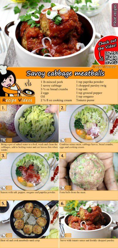 Savoy cabbage meatballs recipe with video