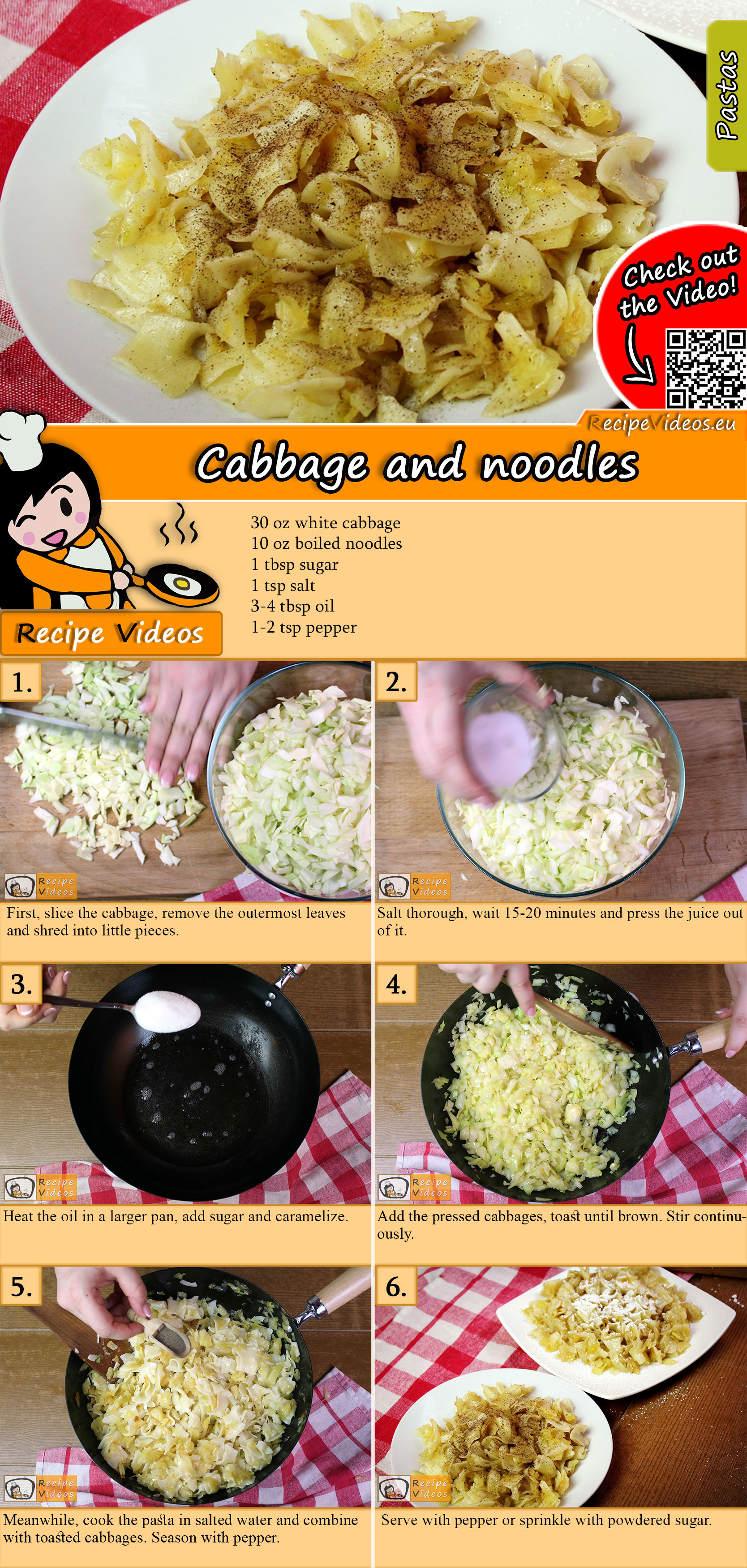 Simple cabbage and noodles recipe with video
