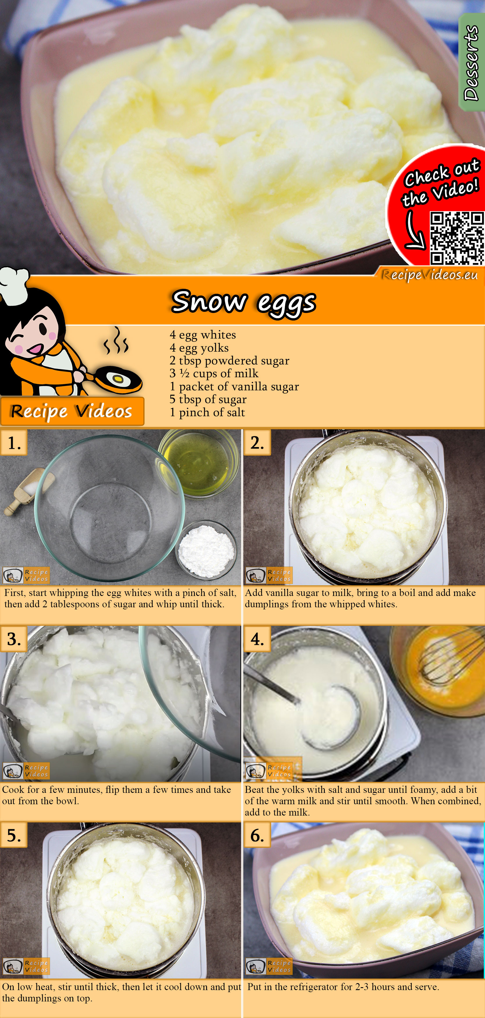 Snow eggs recipe with video