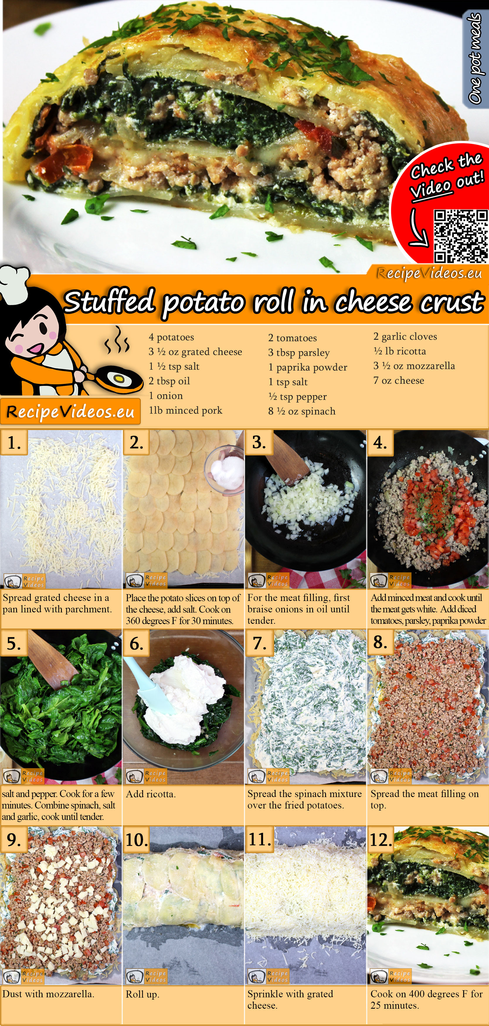 Stuffed potato roll in cheese crust recipe with video