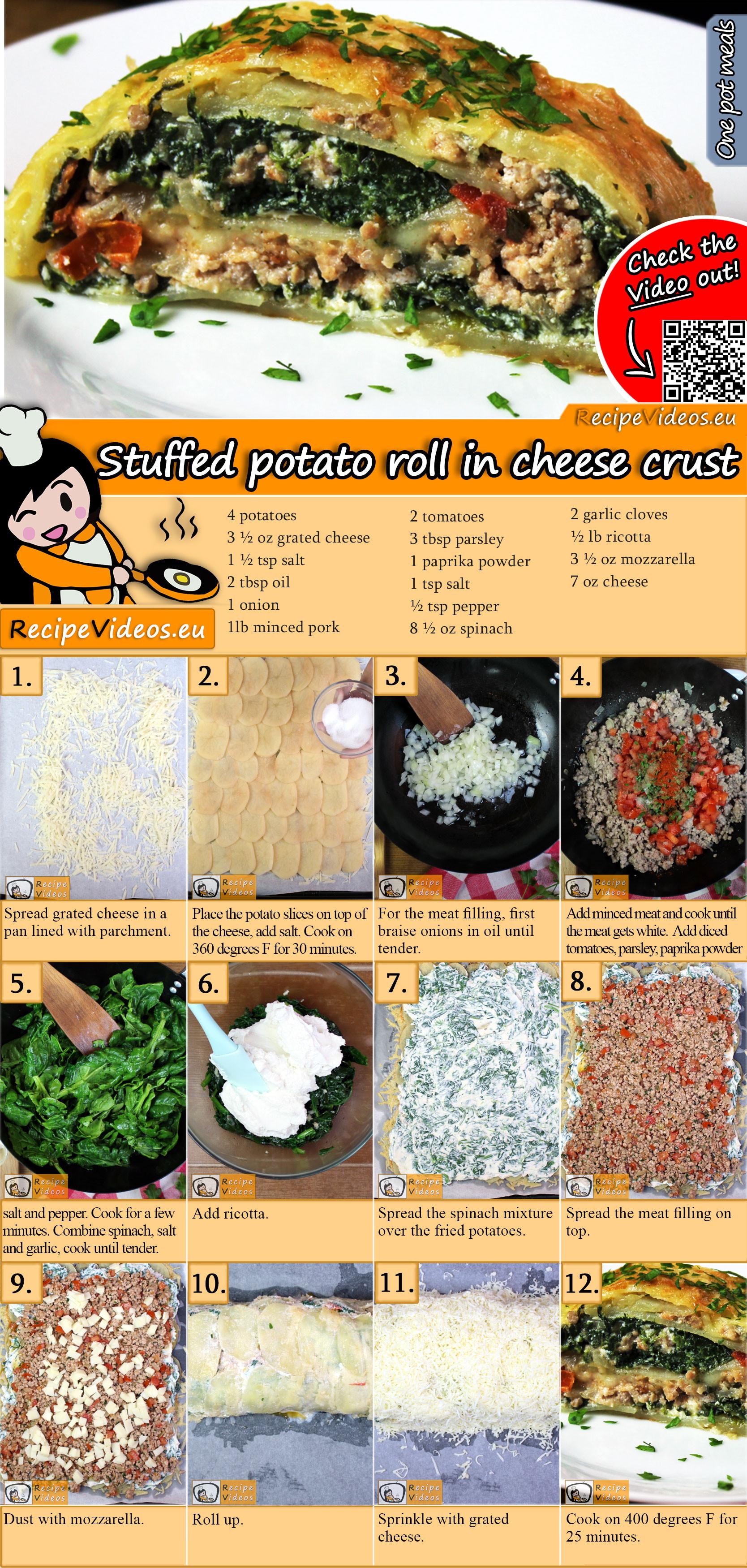 Stuffed potato roll in cheese crust recipe with video