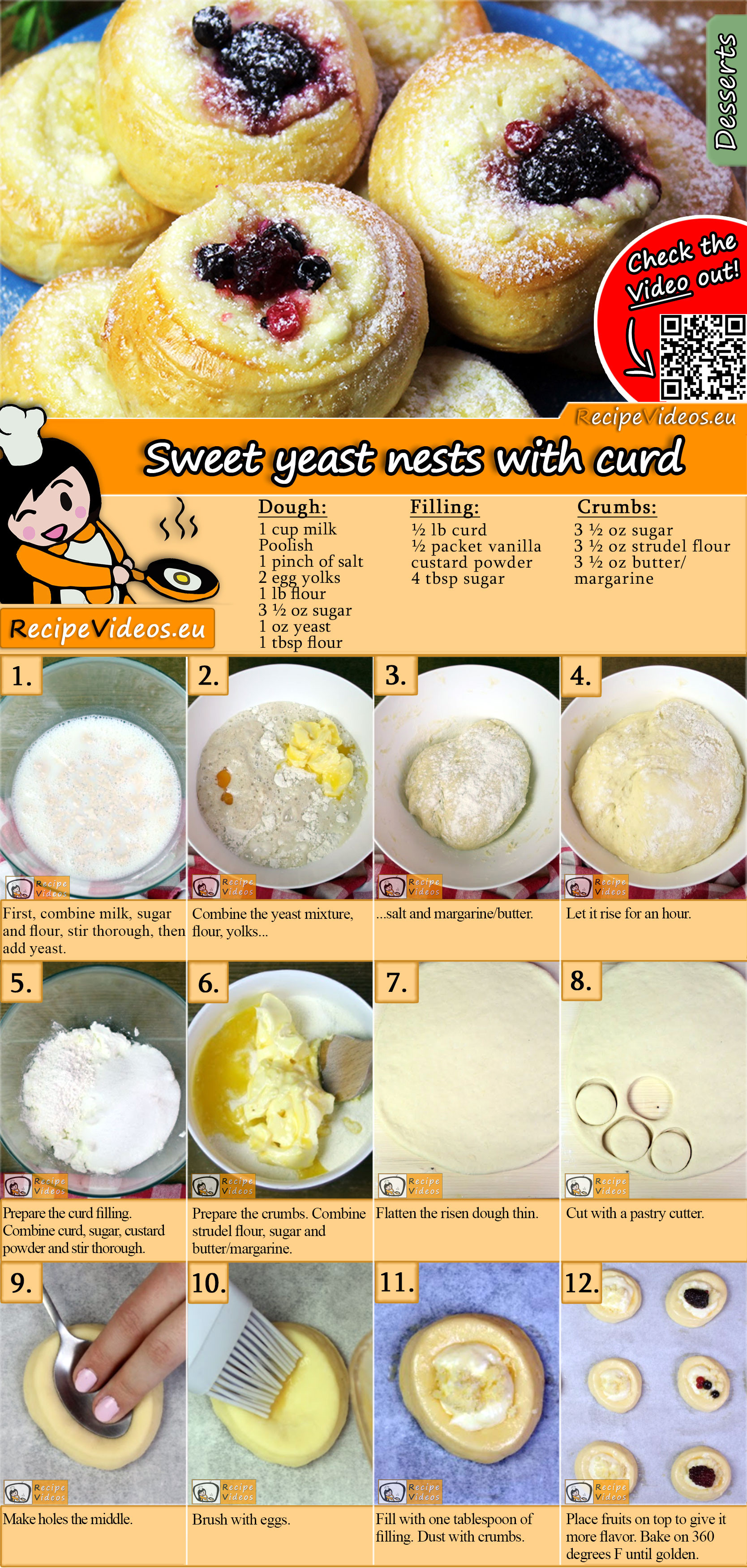 Sweet yeast nests with curd recipe with video