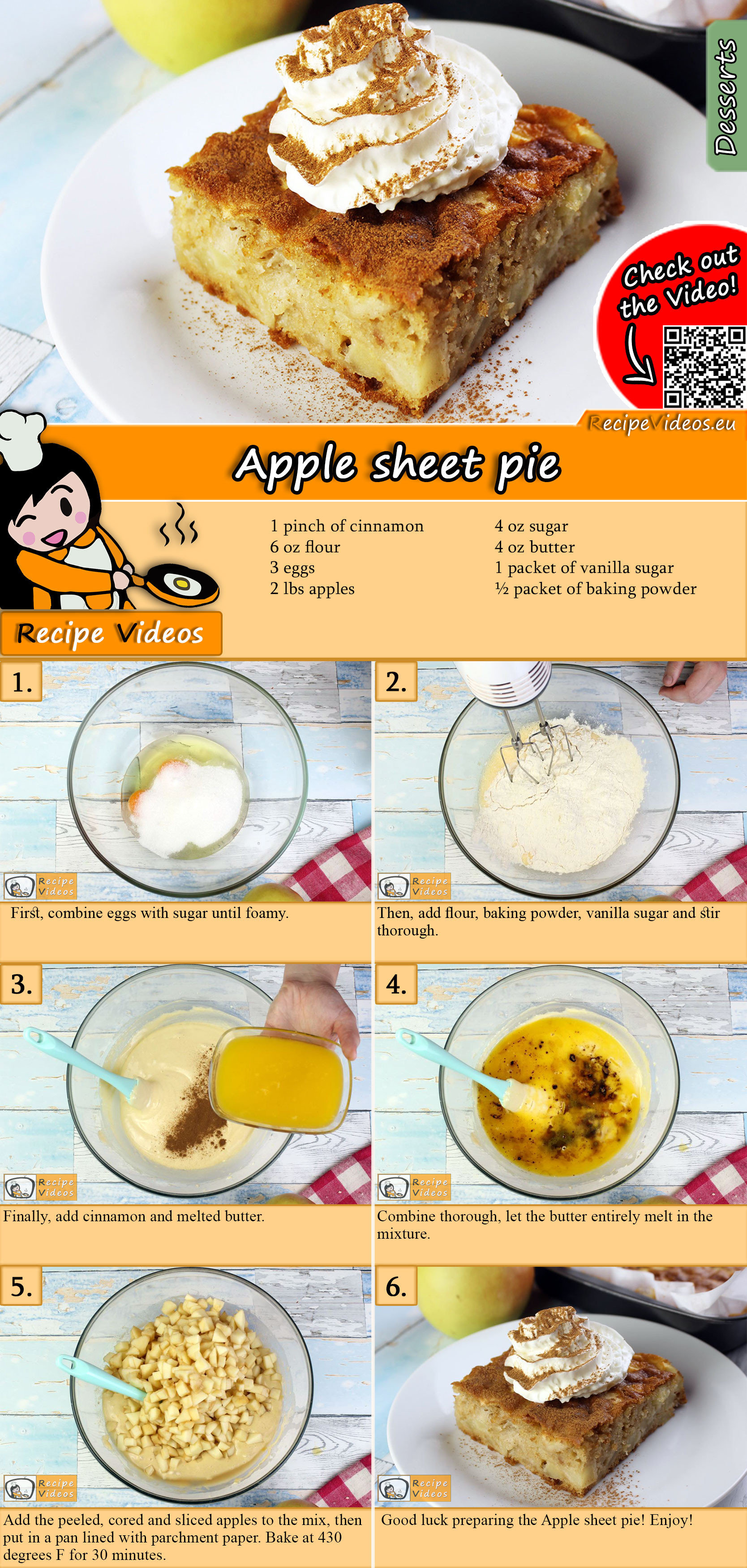 Apple sheet pie recipe with video