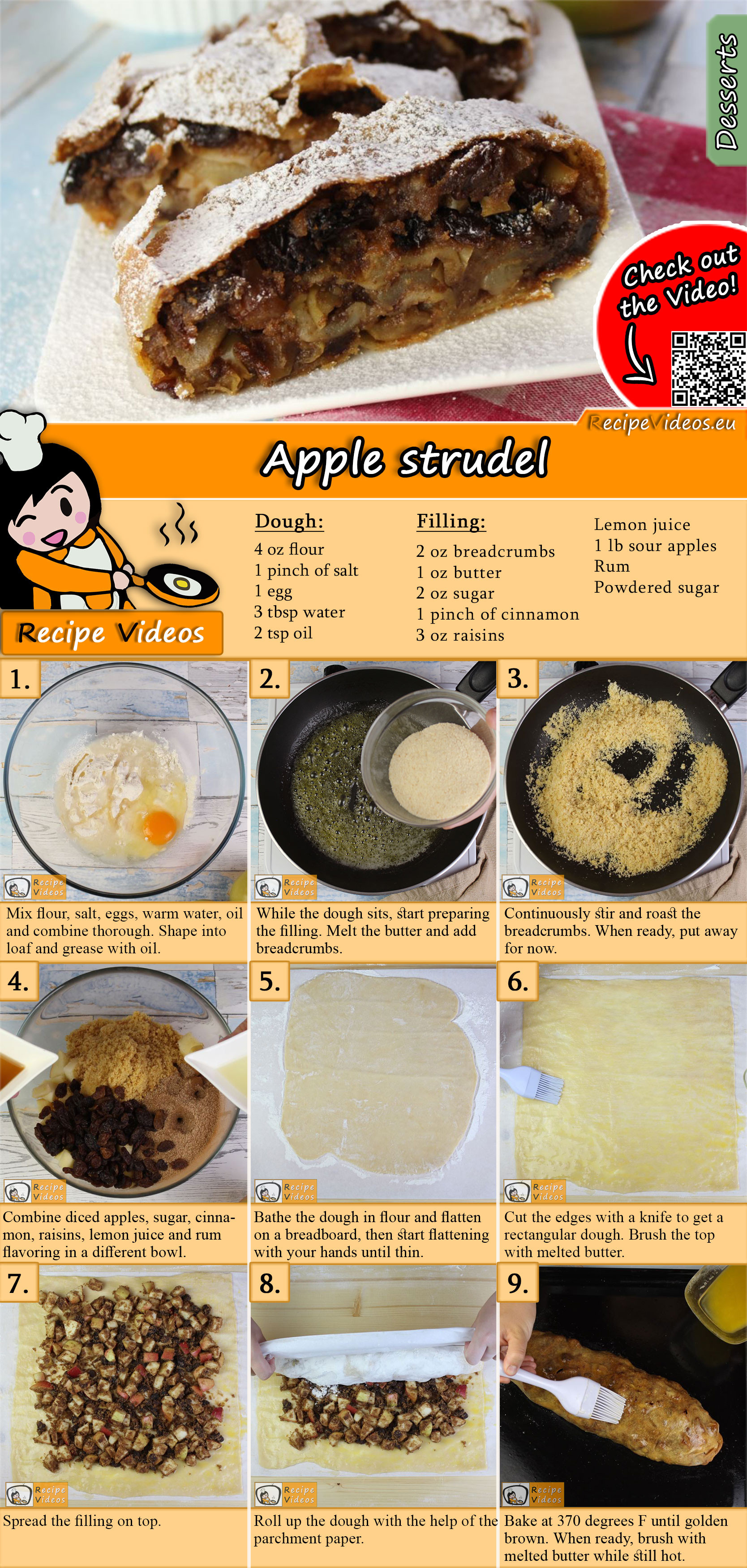 Apple strudel recipe with video