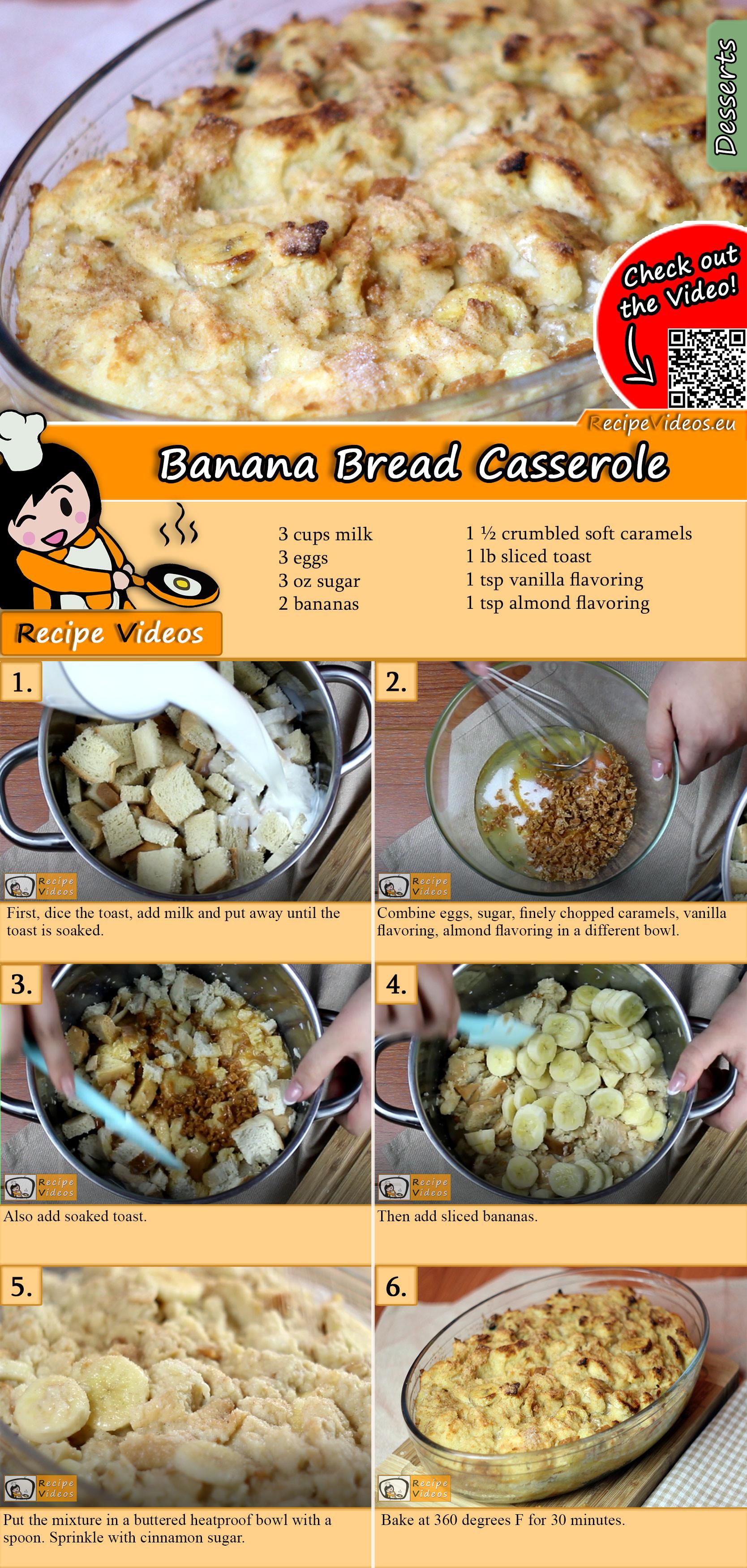 Banana bread casserole recipe with video