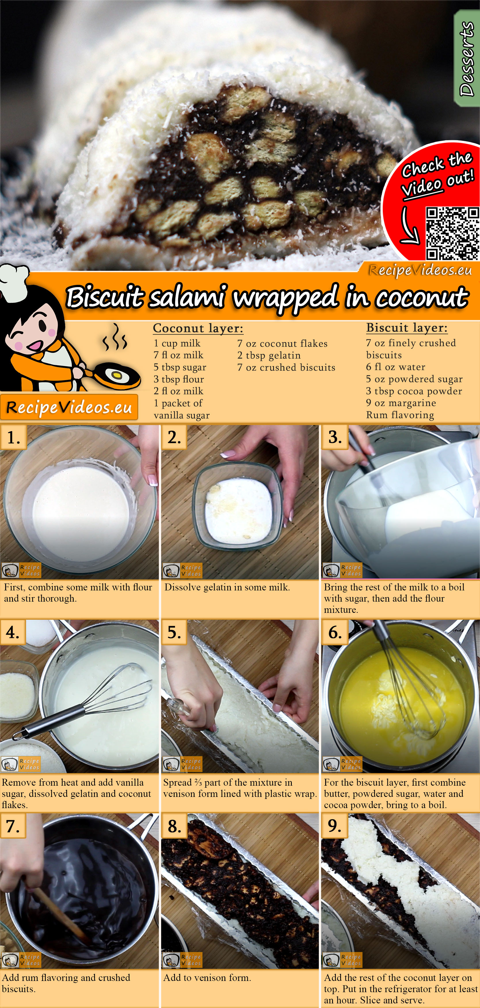 Biscuit salami wrapped in coconut recipe with video