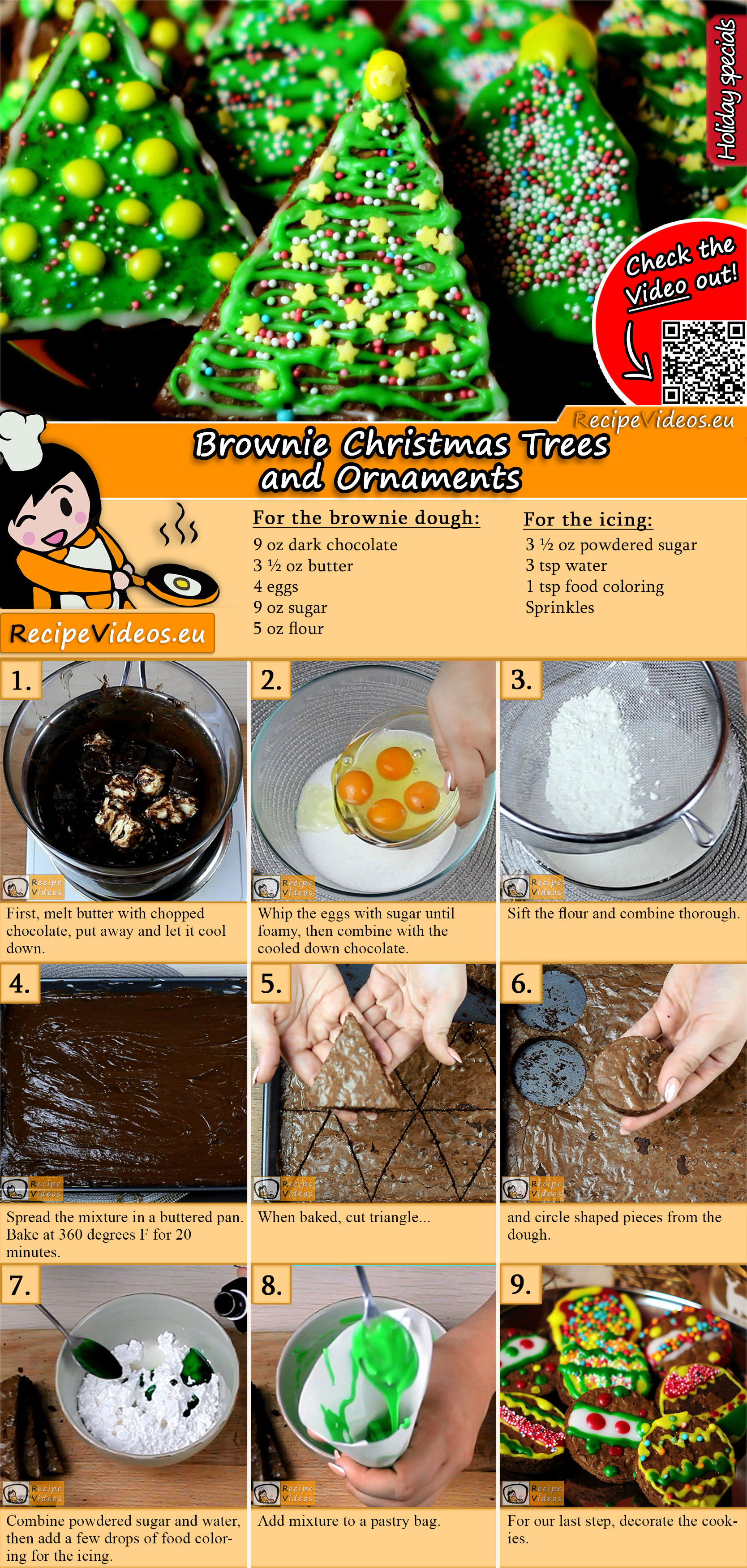 Brownie Christmas Trees and Ornaments recipe with video