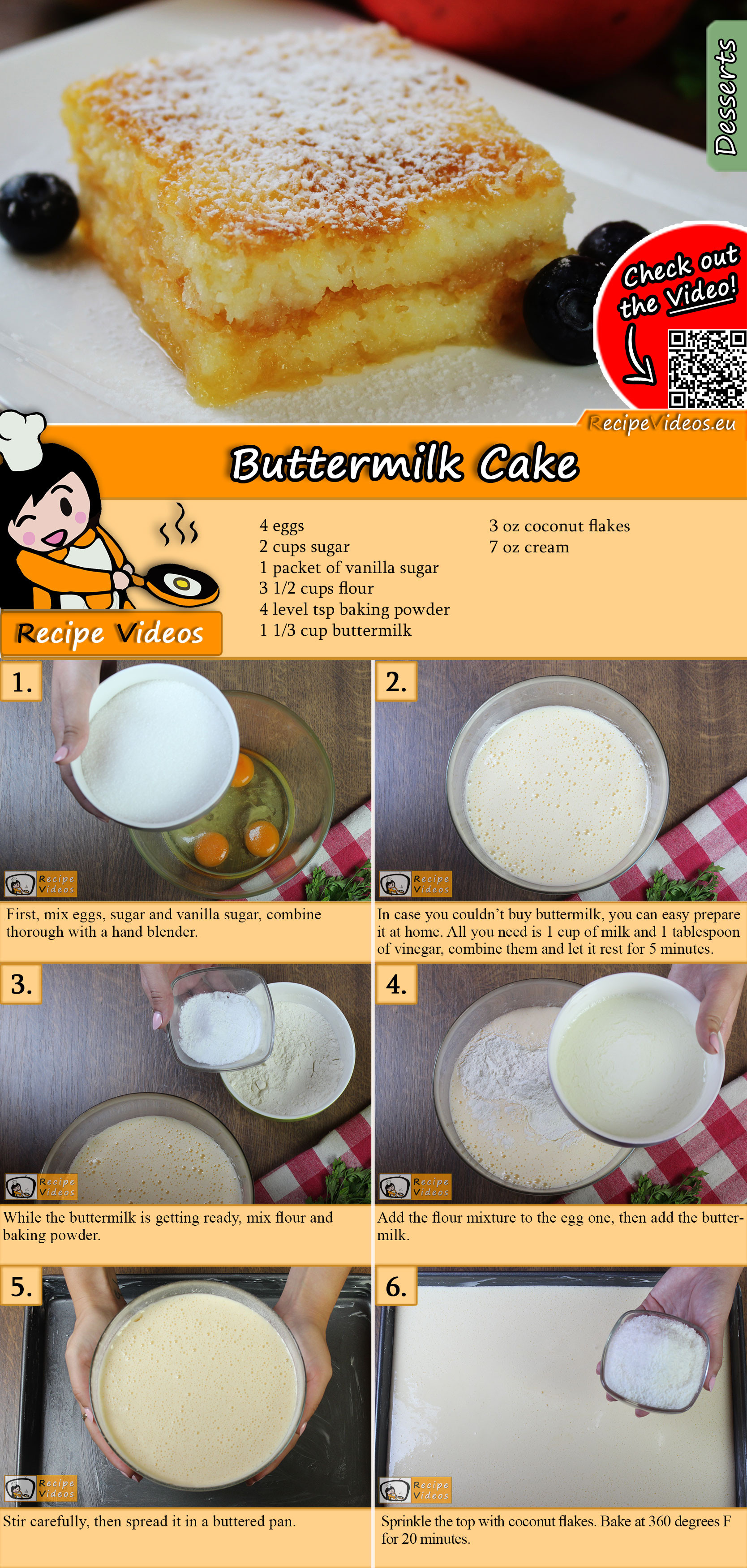 Buttermilk cake recipe with video