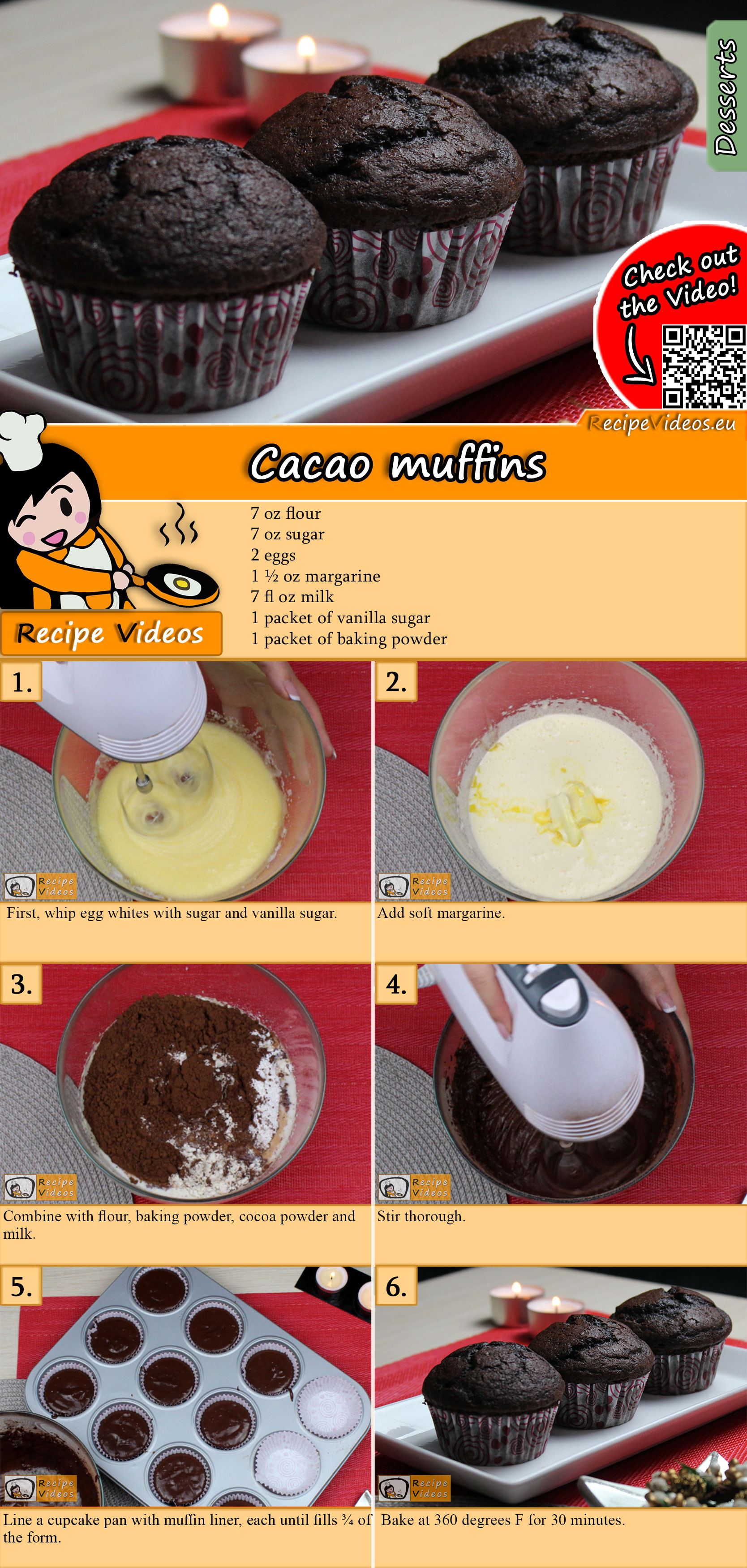 Cacao muffins recipe with video