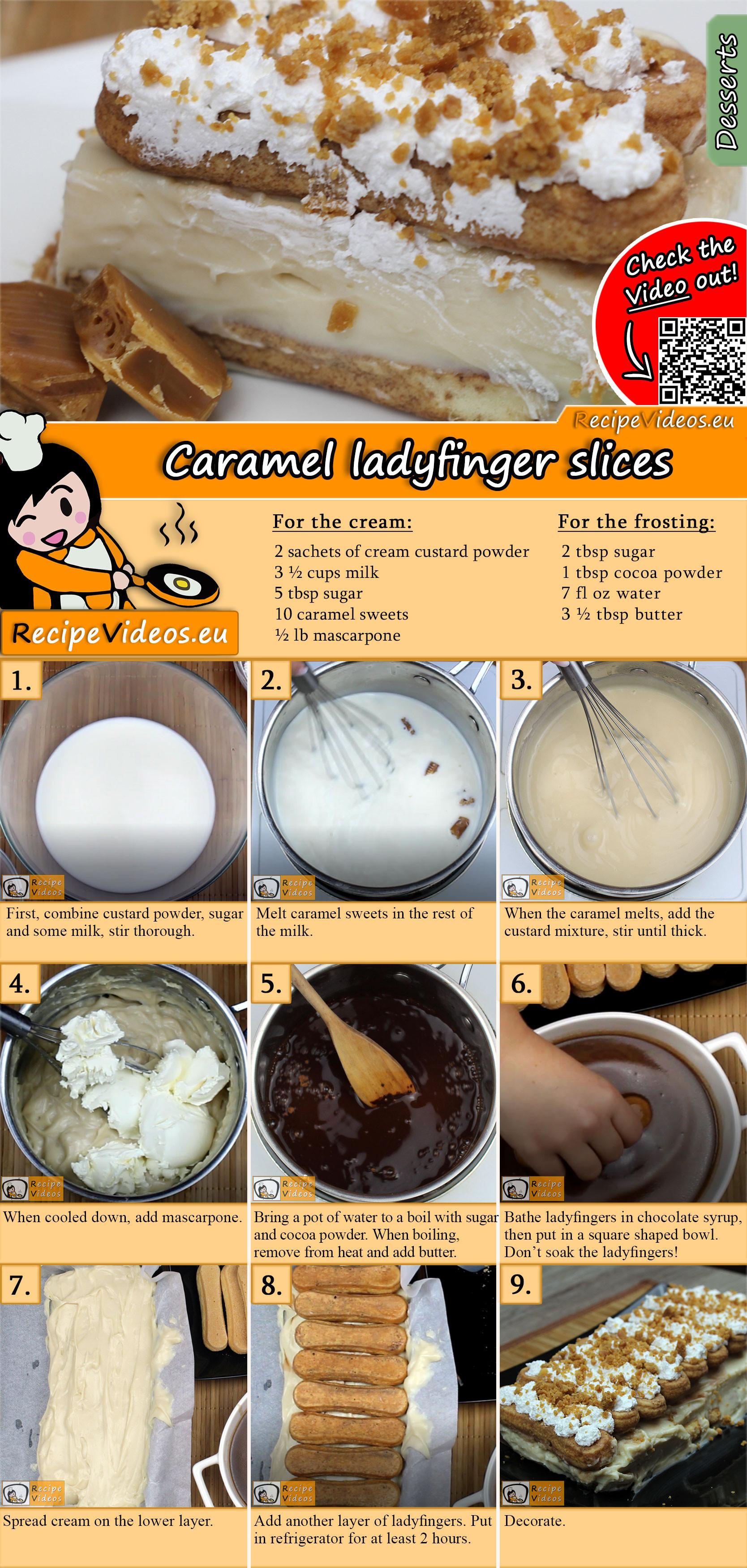 Caramel ladyfinger slices recipe with video