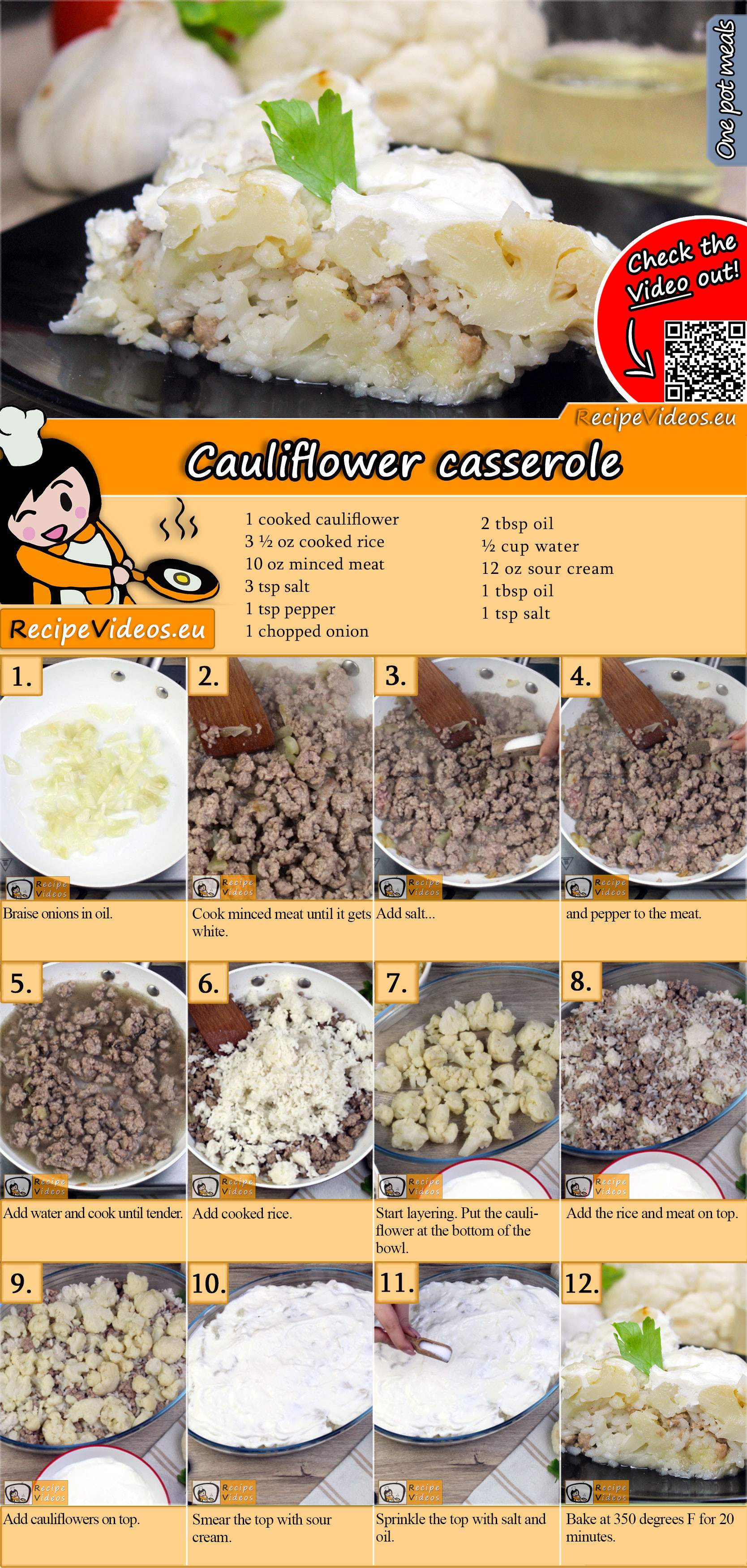 Cauliflower casserole recipe with video