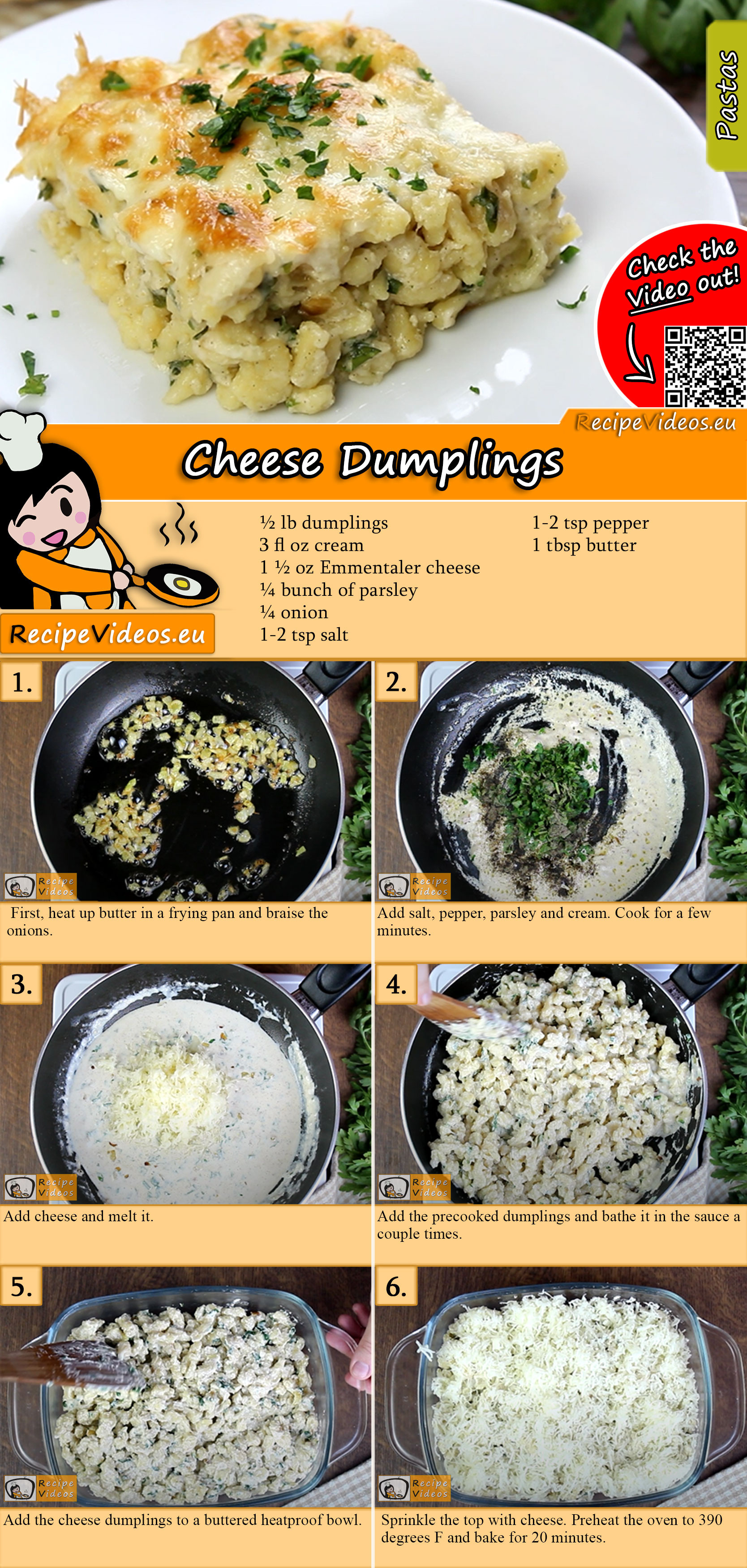 Cheese dumplings recipe with video