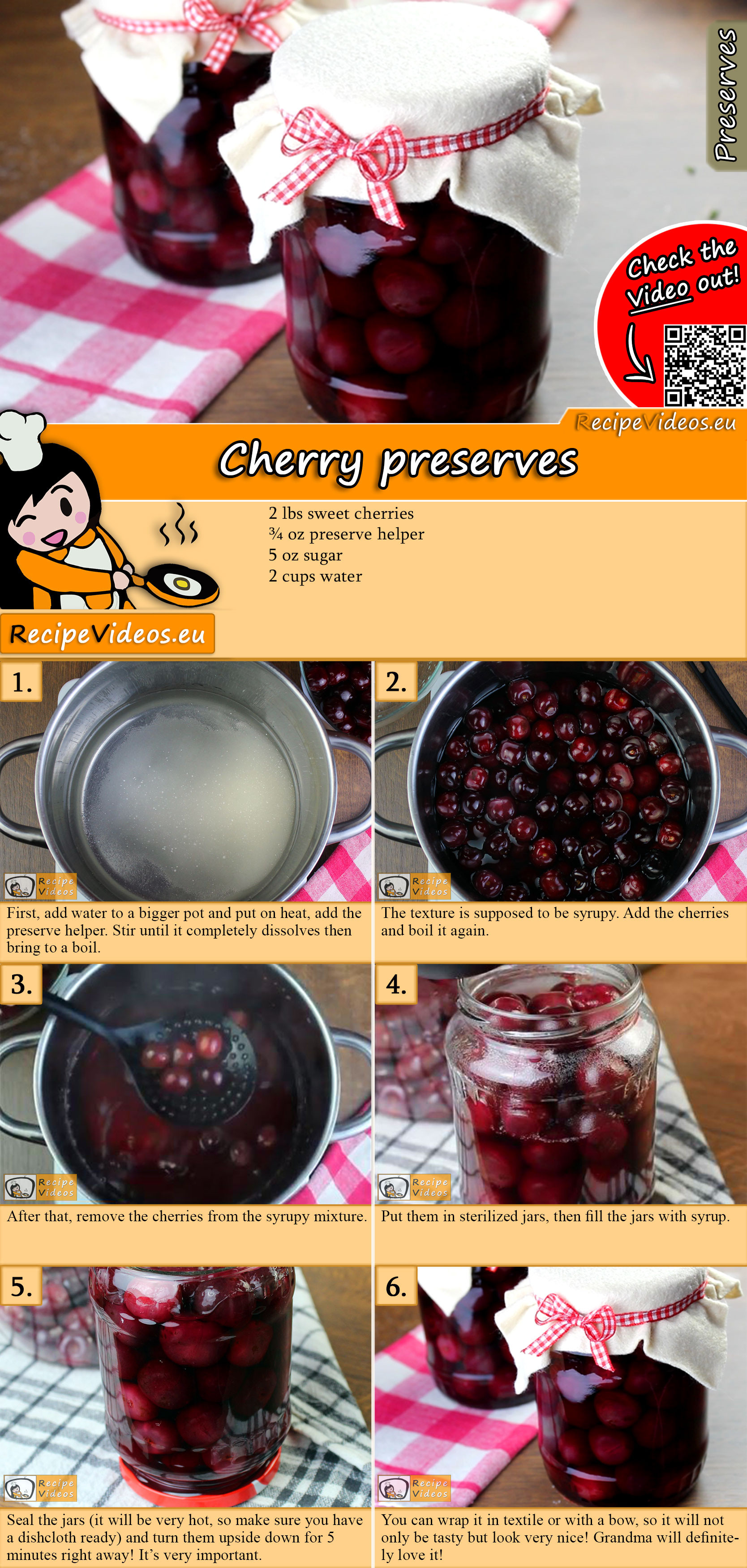 Cherry preserves recipe with video