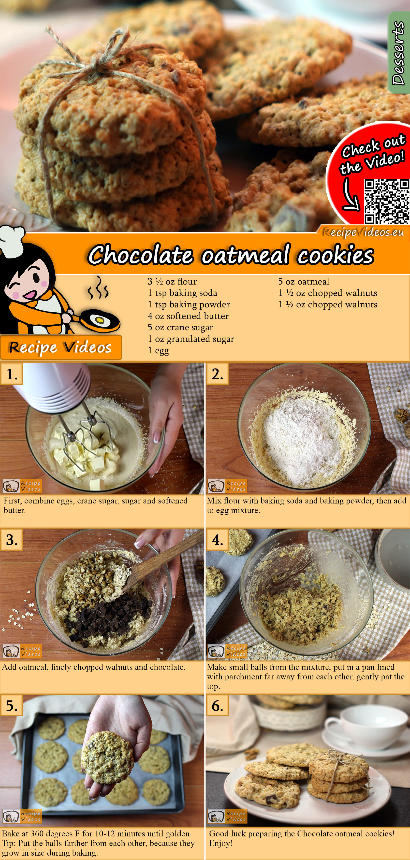 Chocolate oatmeal cookies recipe with video
