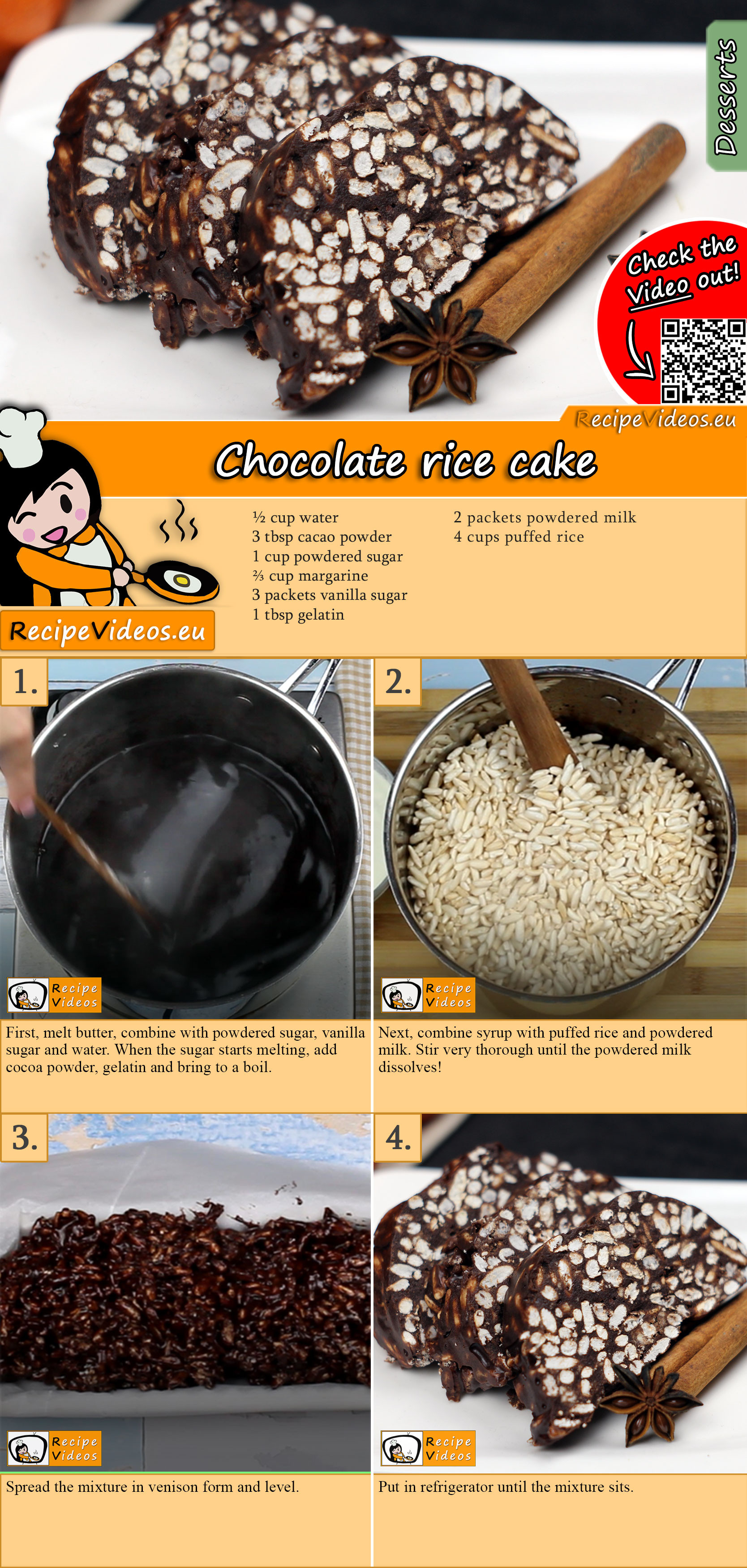 Chocolate rice cake recipe with video