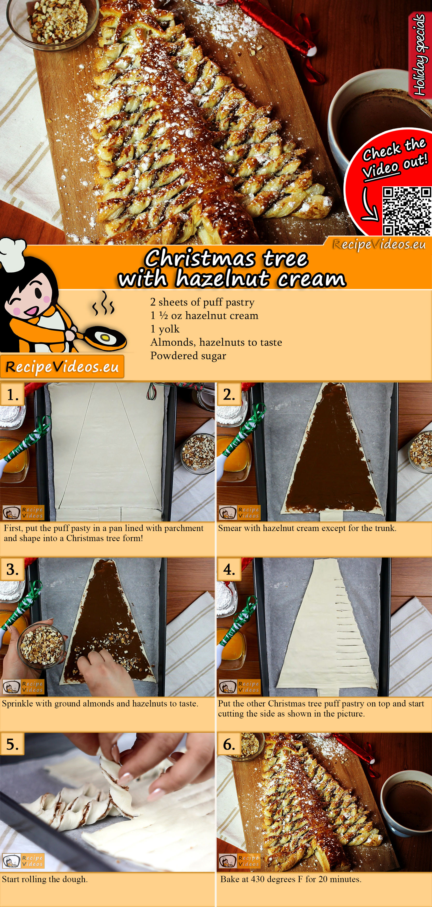 Christmas tree with hazelnut cream recipe with video
