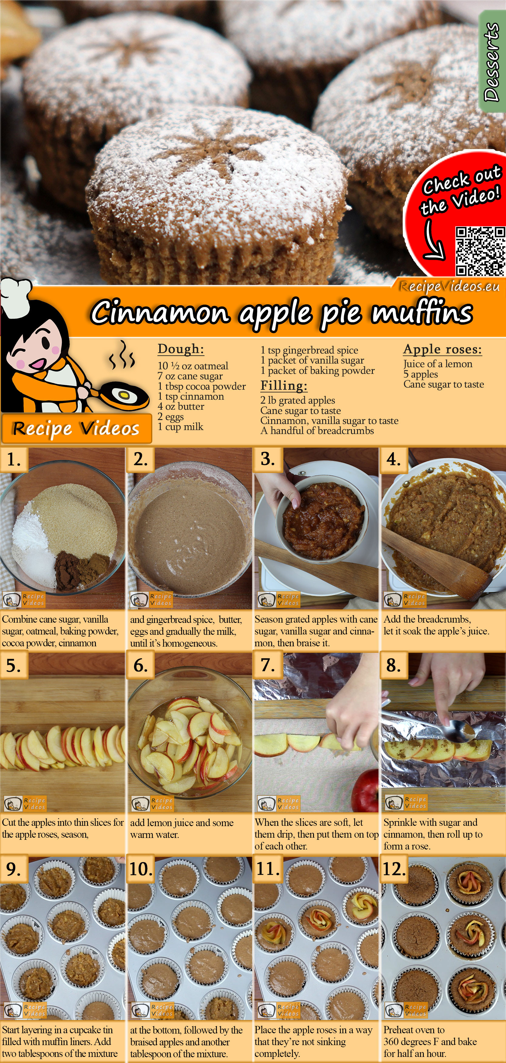 Cinnamon apple pie muffins recipe with video