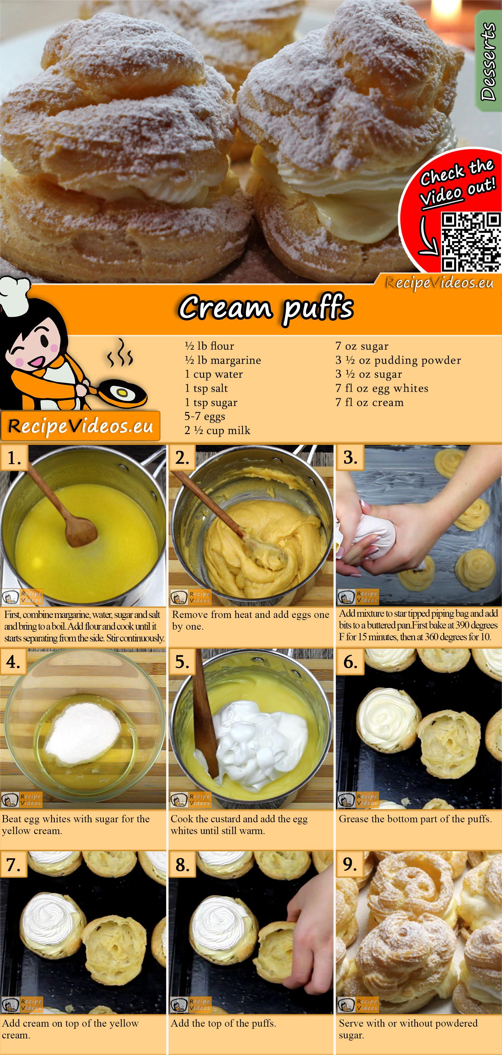 Cream puffs recipe with video