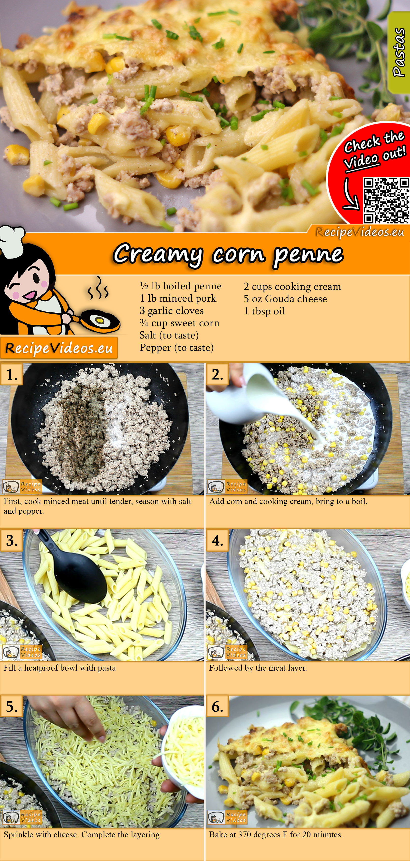 Creamy corn penne recipe with video