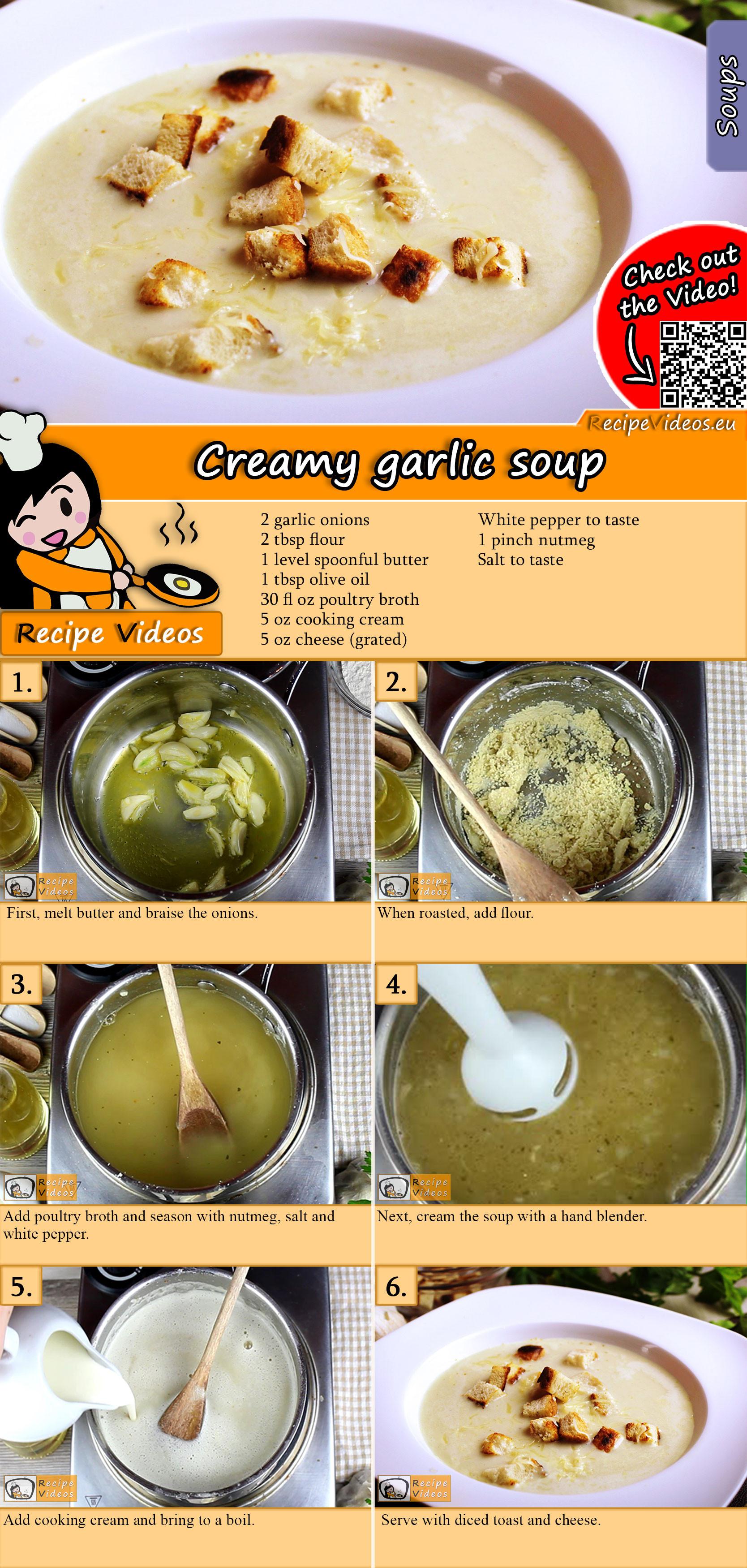 Creamy garlic soup recipe with video