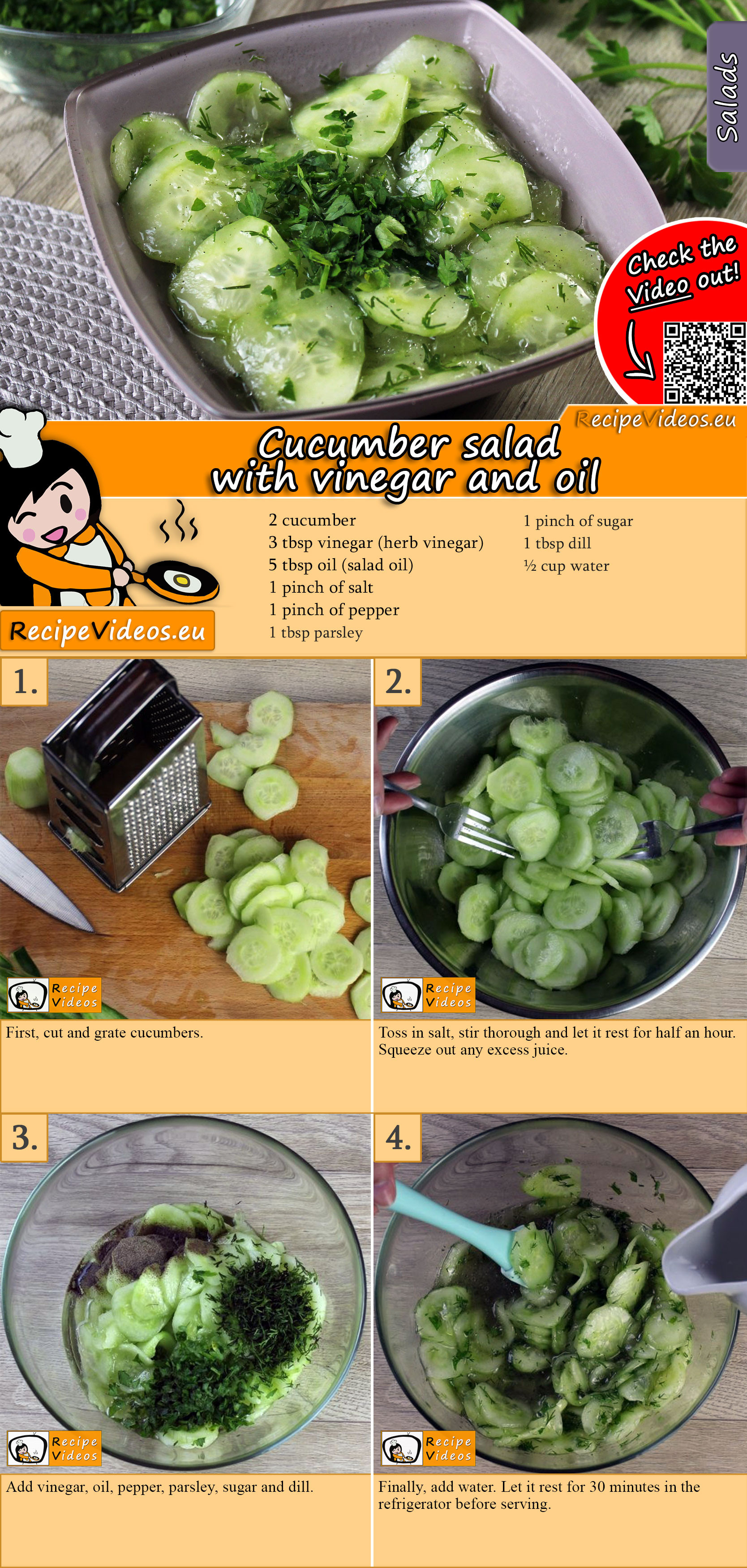 Cucumber salad with vinegar and oil recipe with video